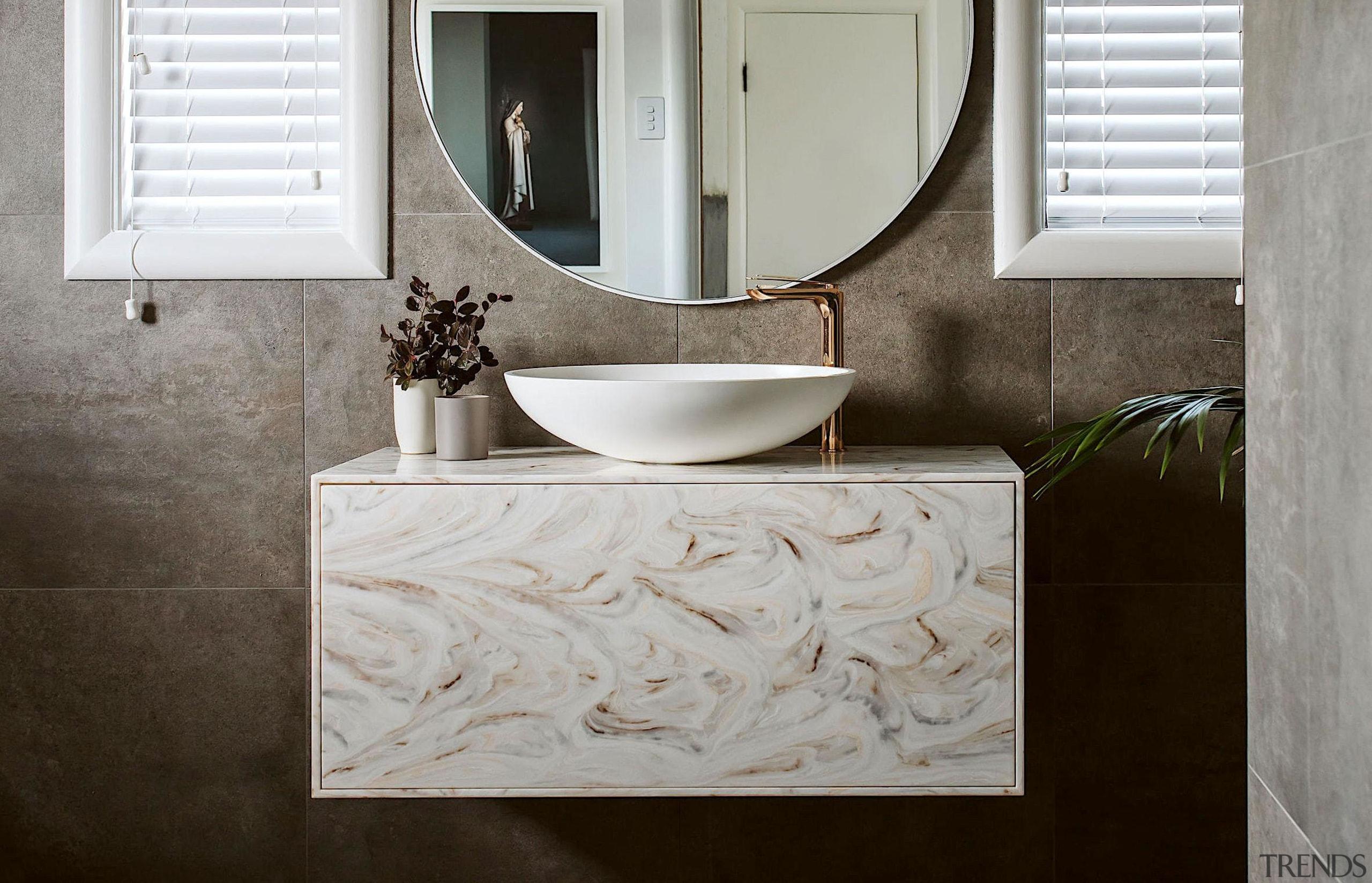 Annika Rowson – Highly Commended – 2019 TIDA architecture, bathroom, bathroom accessory, bathroom sink, bathtub, ceramic, floor, flooring, home, interior design, limestone, marble, material property, plumbing fixture, property, room, sink, tap, tile, wall, gray, black