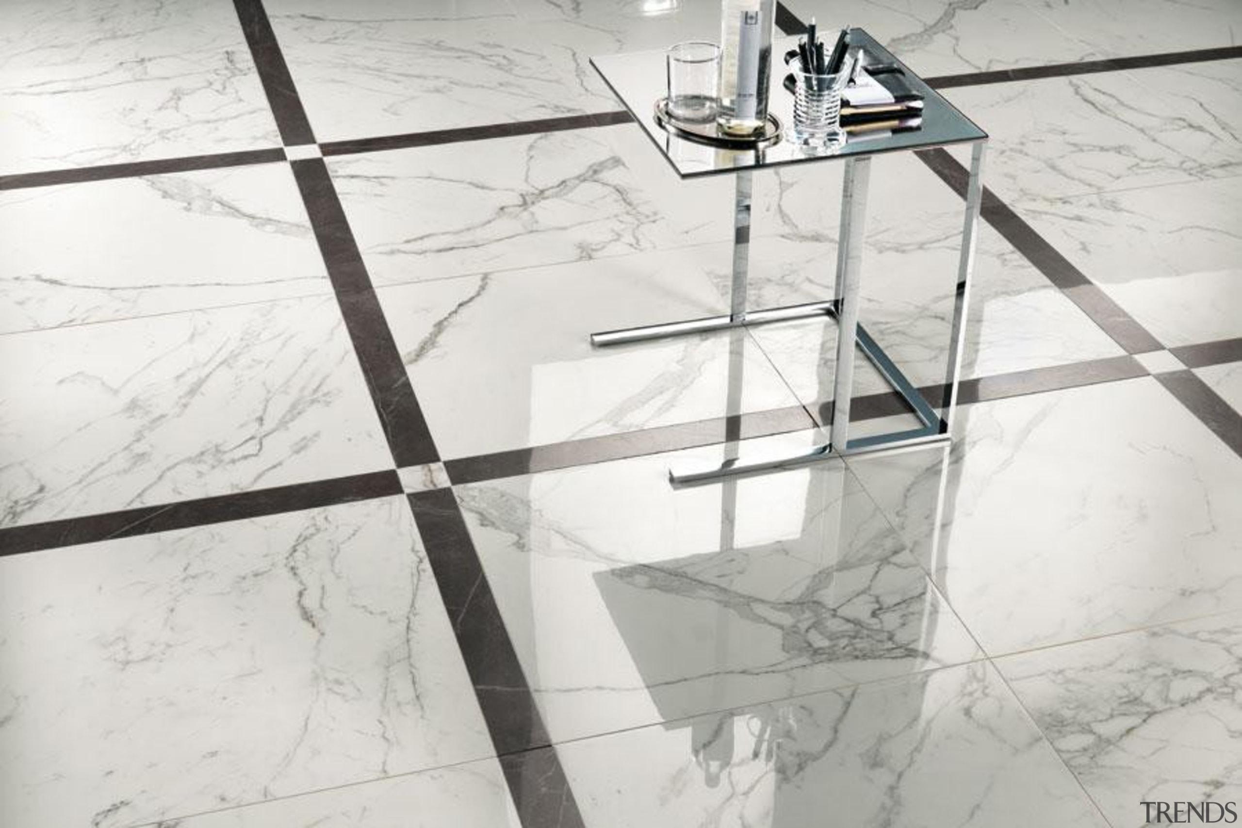 Marvel Calacatta floor tiles - Cb 9721375050116184 - angle, design, floor, flooring, furniture, glass, line, product design, structure, table, tile, wall, white