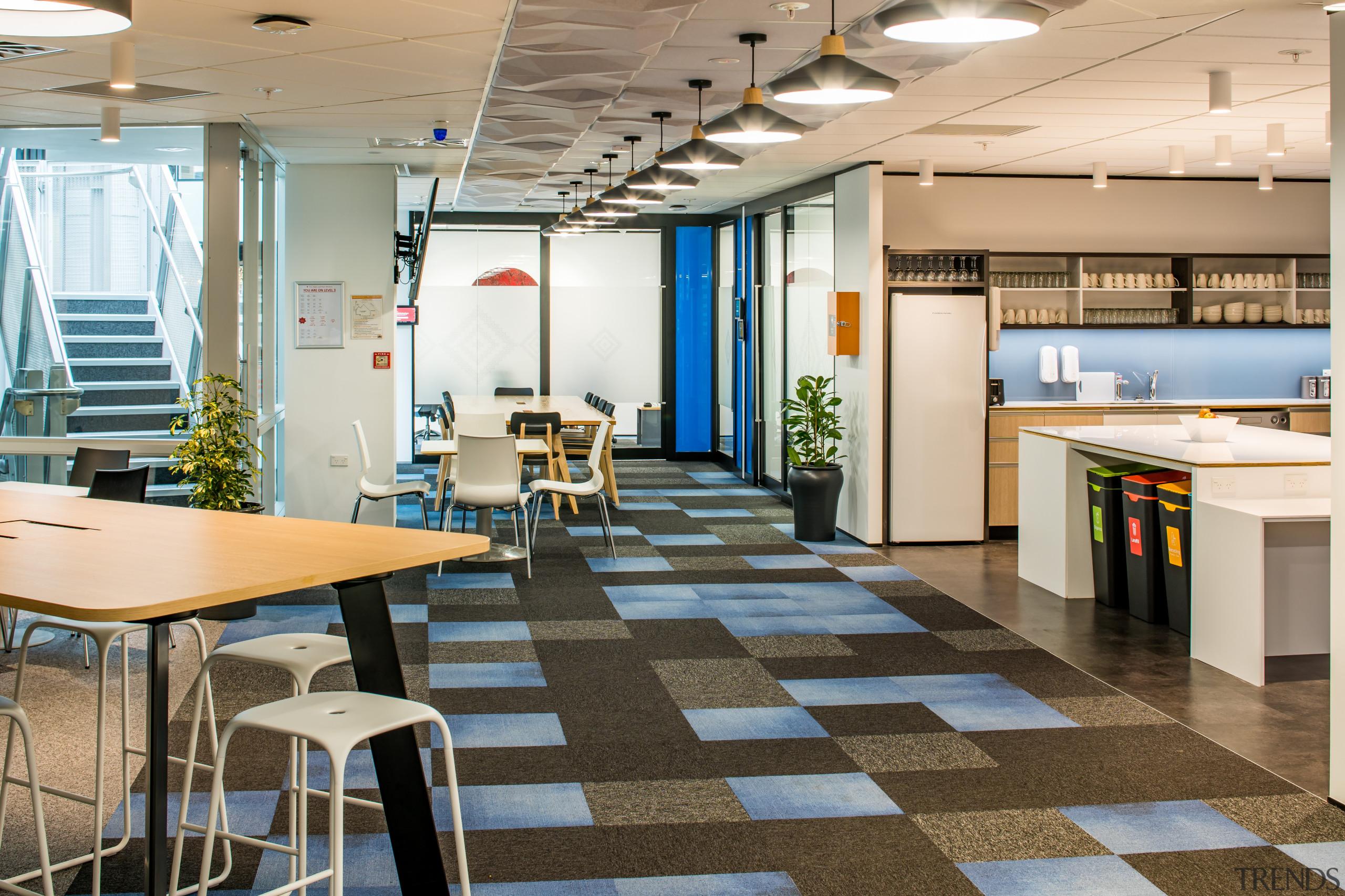 Social areas are set around the central atrium architecture, building, cafeteria, furniture, interior design, office, restaurant, Treasury Building, Workspace Architects
