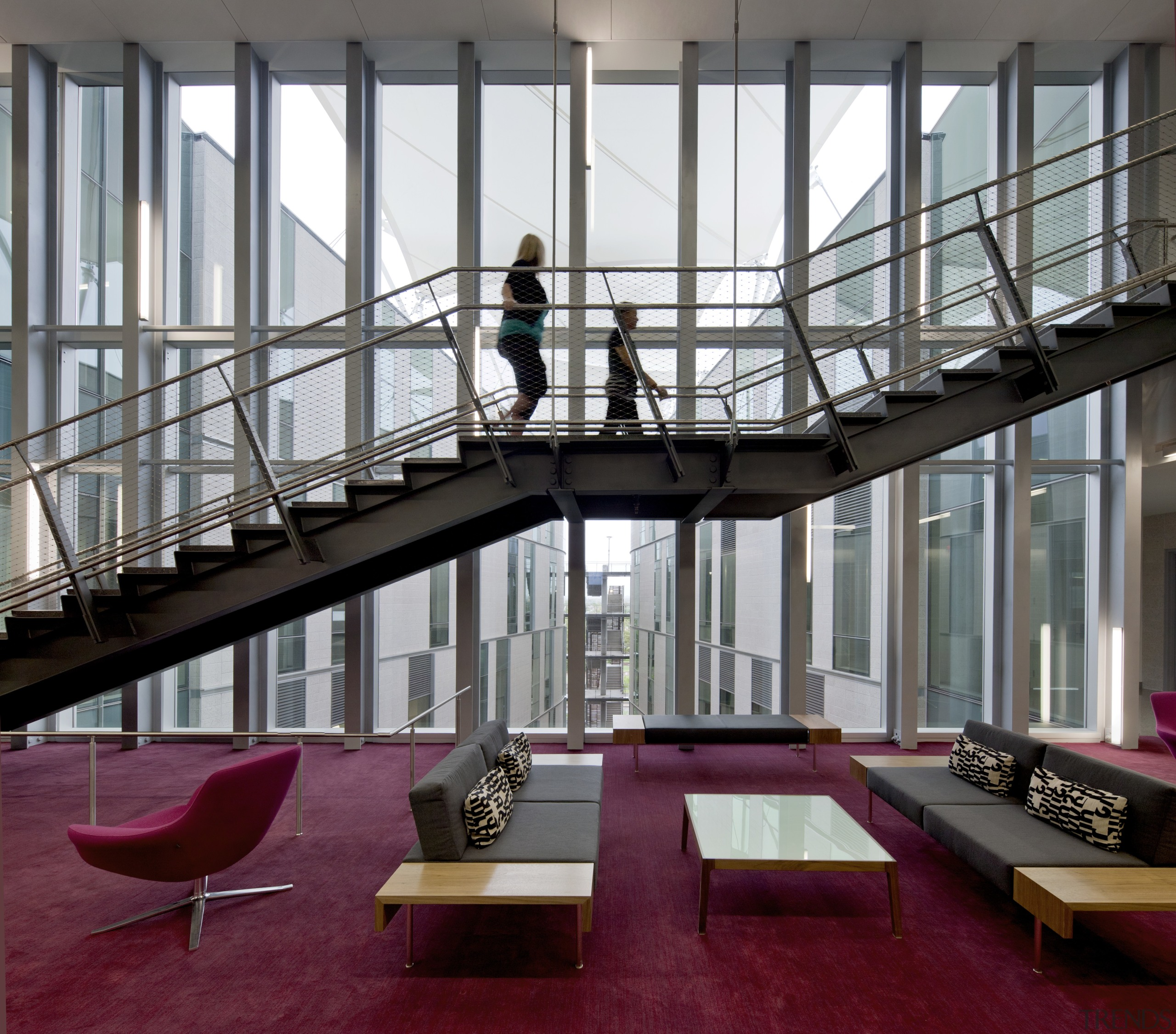 On this project, the main circulation stair between architecture, building, daylighting, interior design, stairs, structure, gray