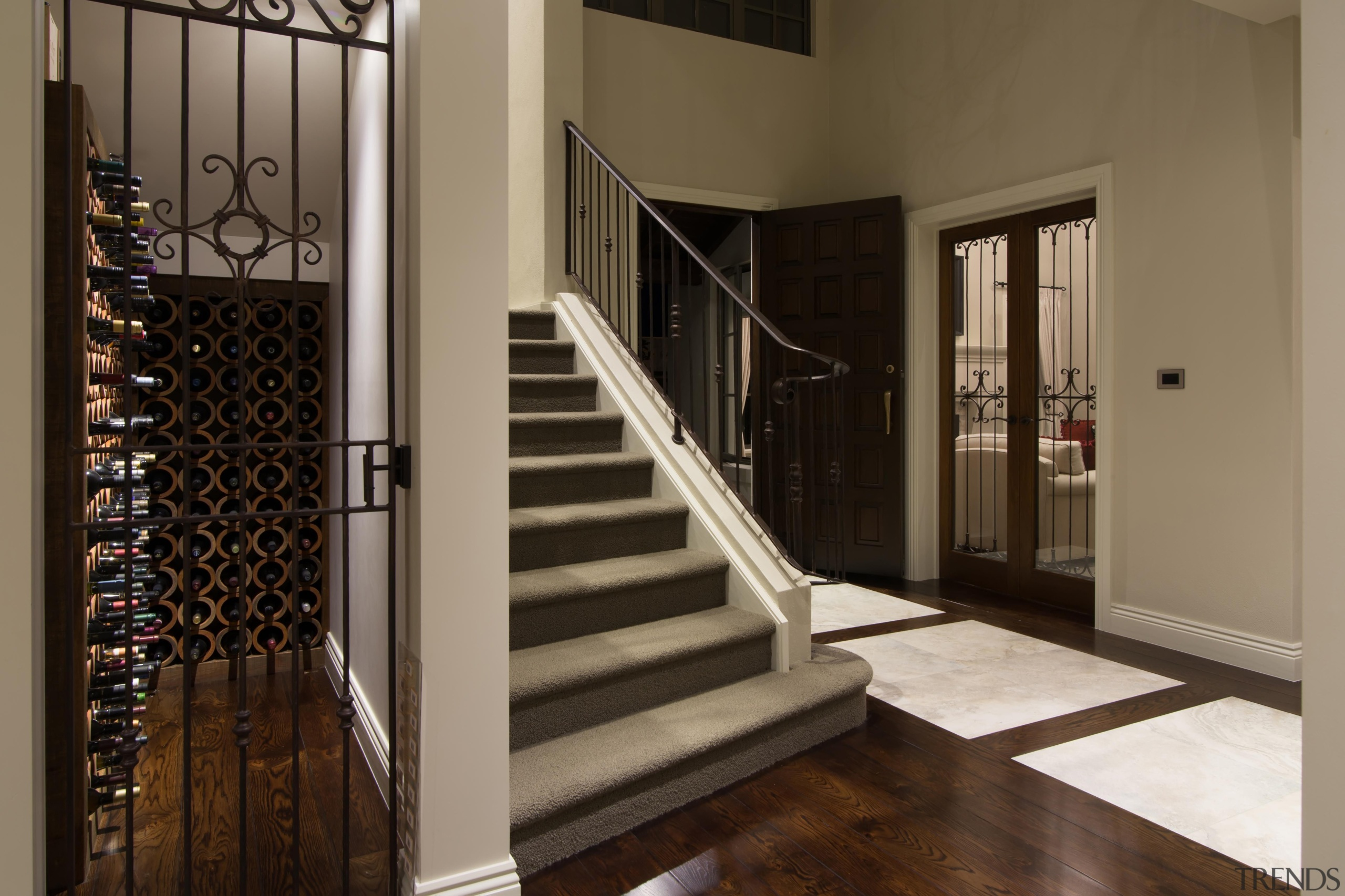 Img3520 - baluster | door | floor | baluster, door, floor, flooring, handrail, hardwood, home, interior design, iron, property, stairs, window, brown, black