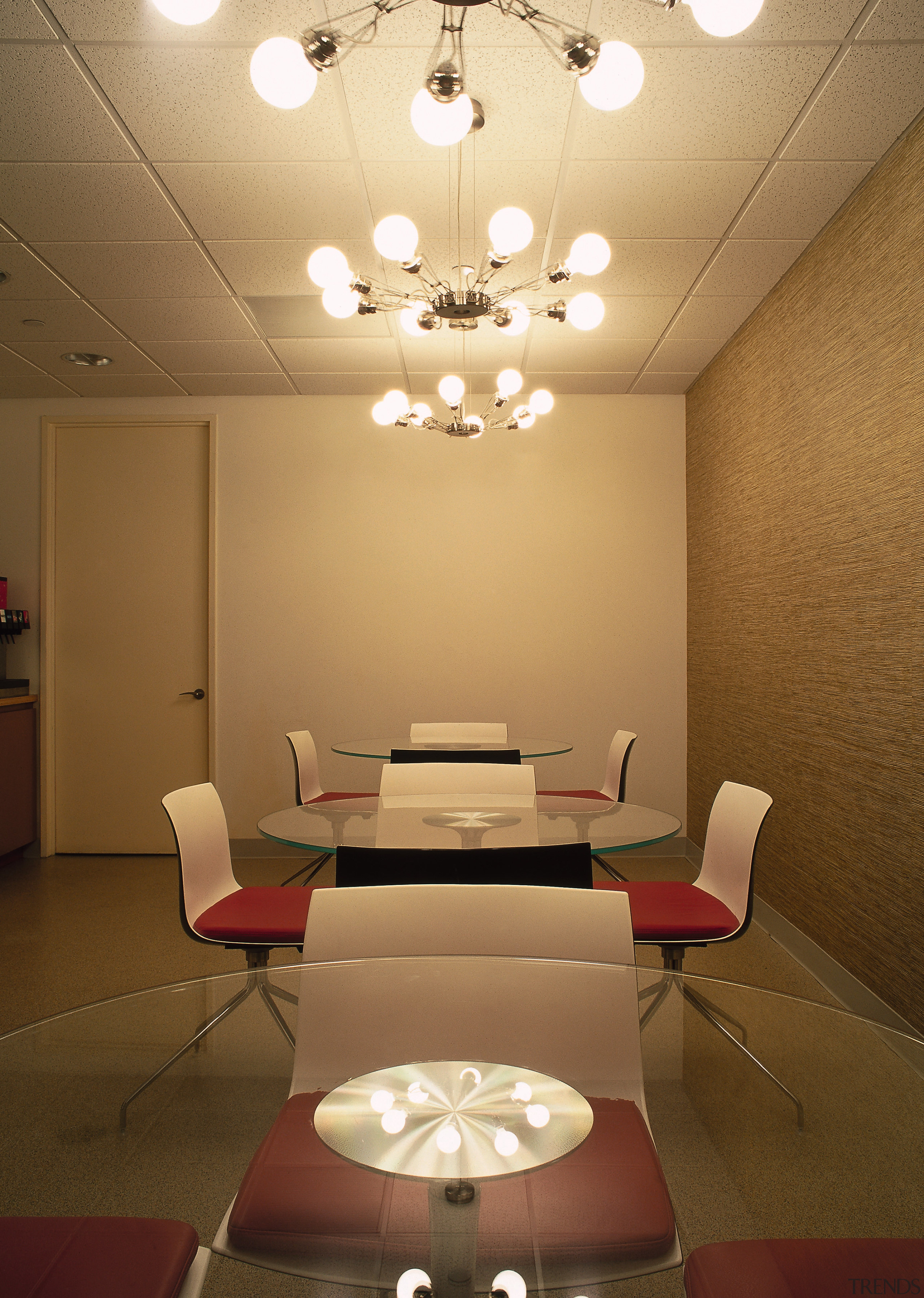 A view of the staff cafe, cream walls, architecture, ceiling, conference hall, daylighting, furniture, interior design, light fixture, lighting, product design, room, table, waiting room, wall, brown, orange