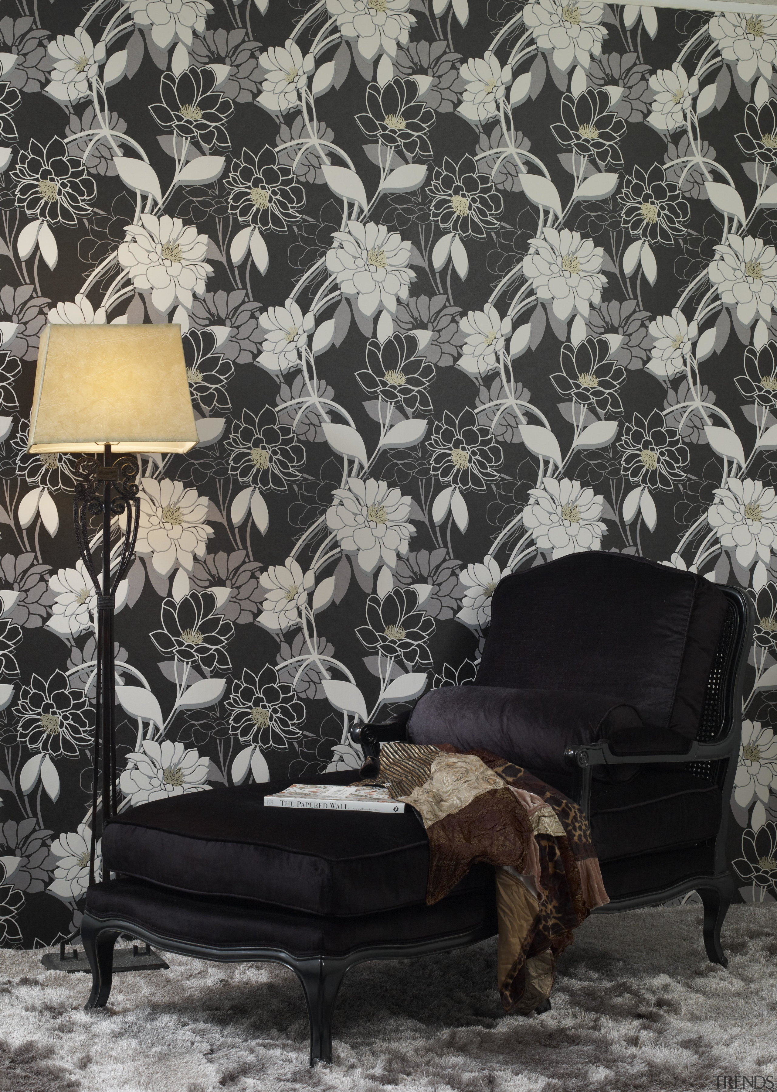 Flower Power - chair | couch | furniture chair, couch, furniture, wallpaper, black, gray