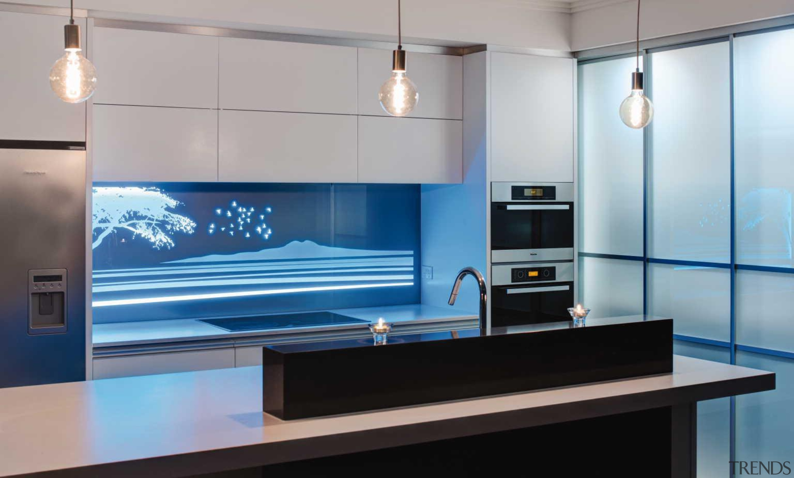 Every kitchen needs a hero and a vibrant furniture, glass, interior design, lighting, product design, gray
