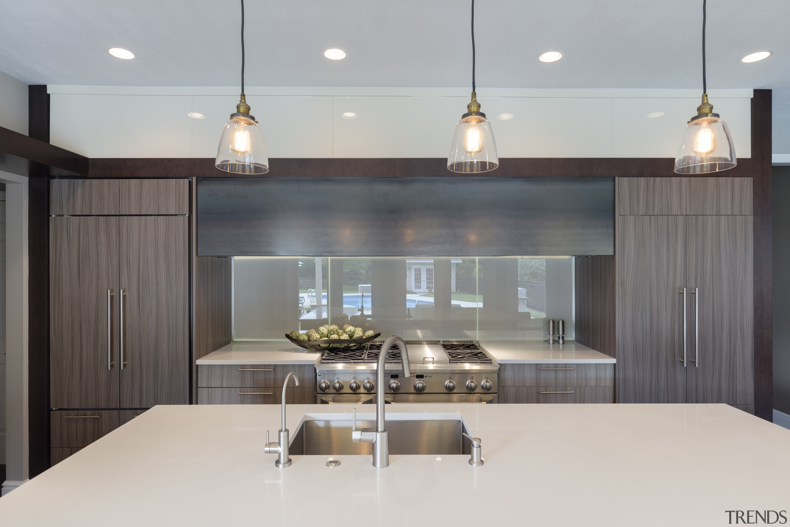 At night, the designer lighting and embedded LEDs architecture, interior design, kitchen, light fixture, lighting, product design, gray