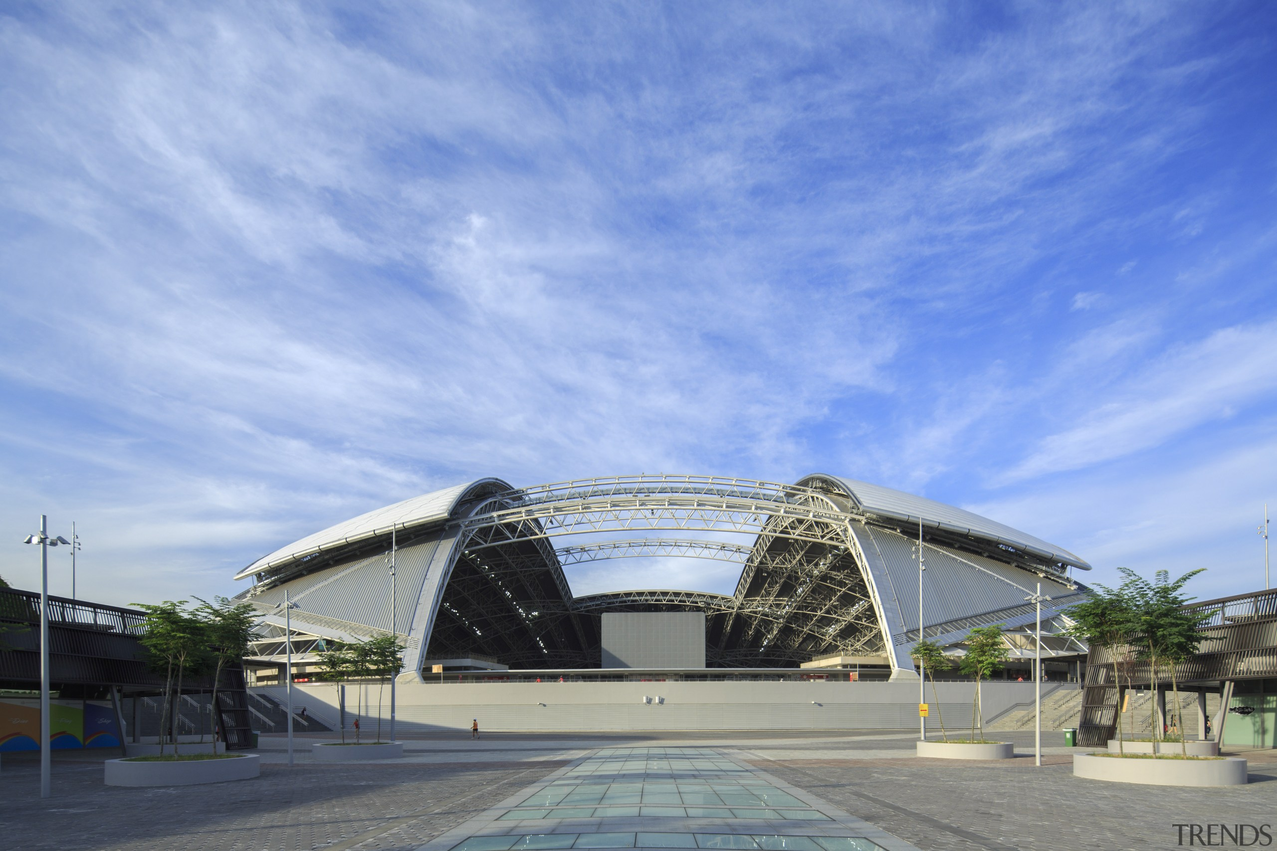 The dome of the main stadium at the architecture, building, cloud, convention center, corporate headquarters, daytime, fixed link, landmark, metropolitan area, sky, sport venue, structure, teal
