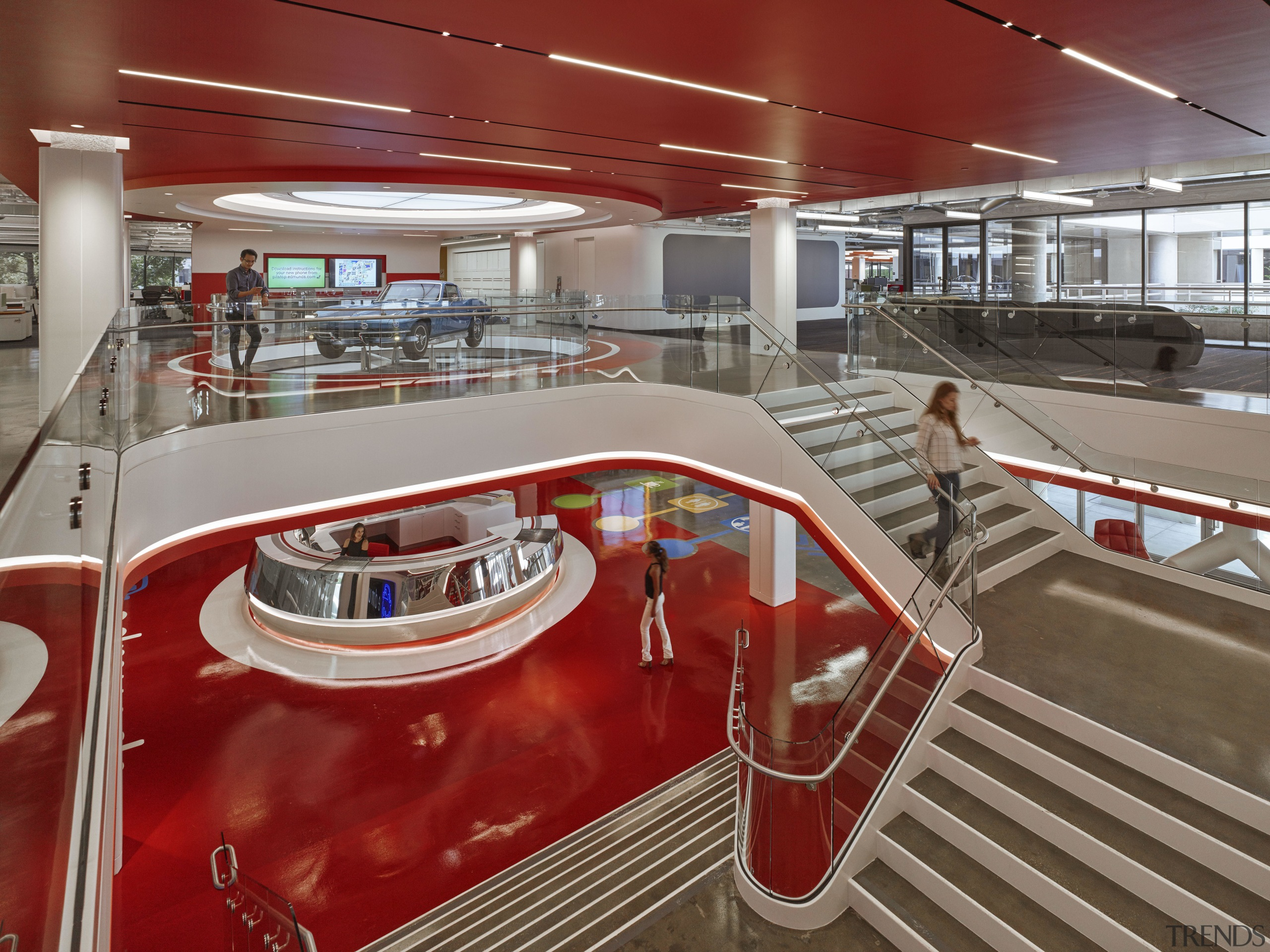 In keeping with the nature of the business interior design, leisure centre, red, gray