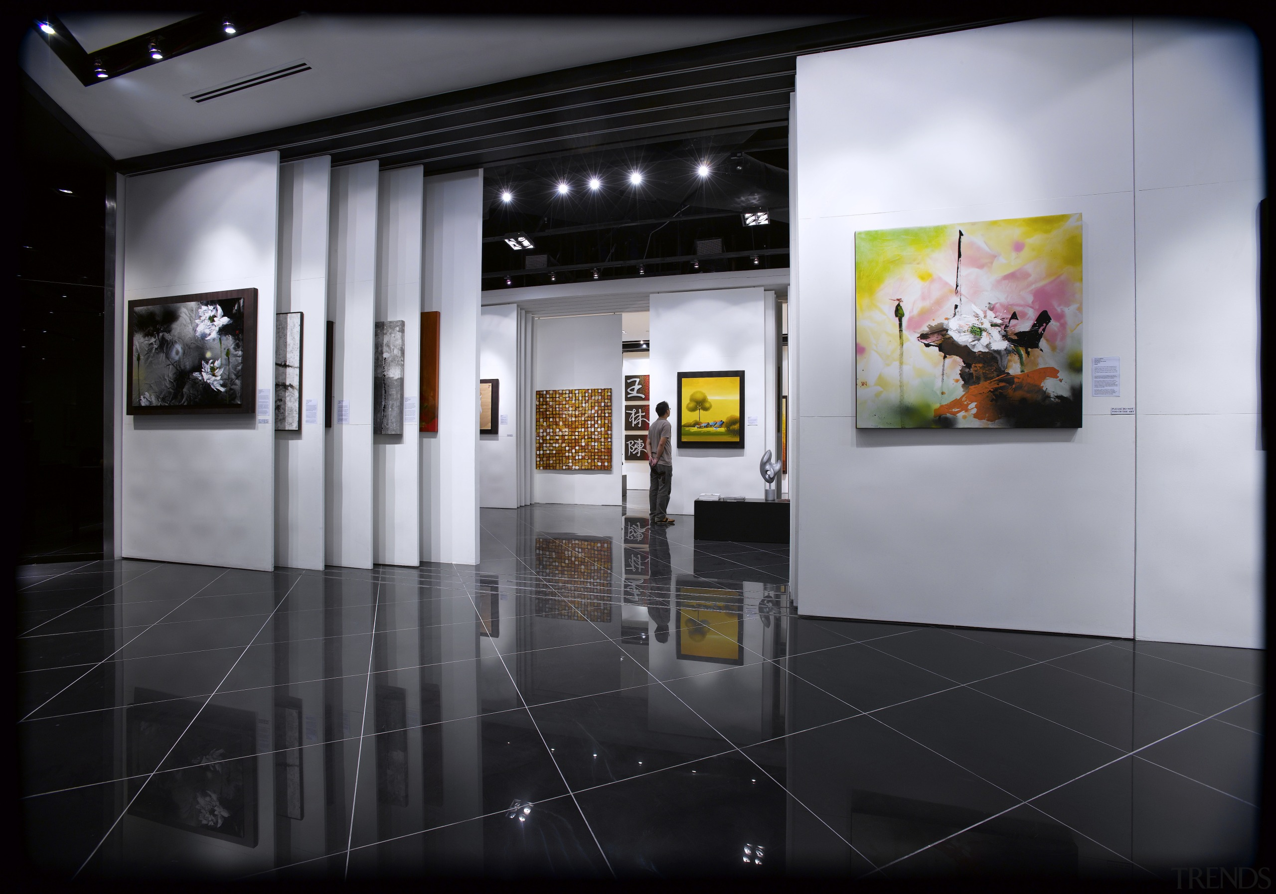 Interior view of the Art Gallery by Designworx, art exhibition, exhibition, interior design, product design, black, gray
