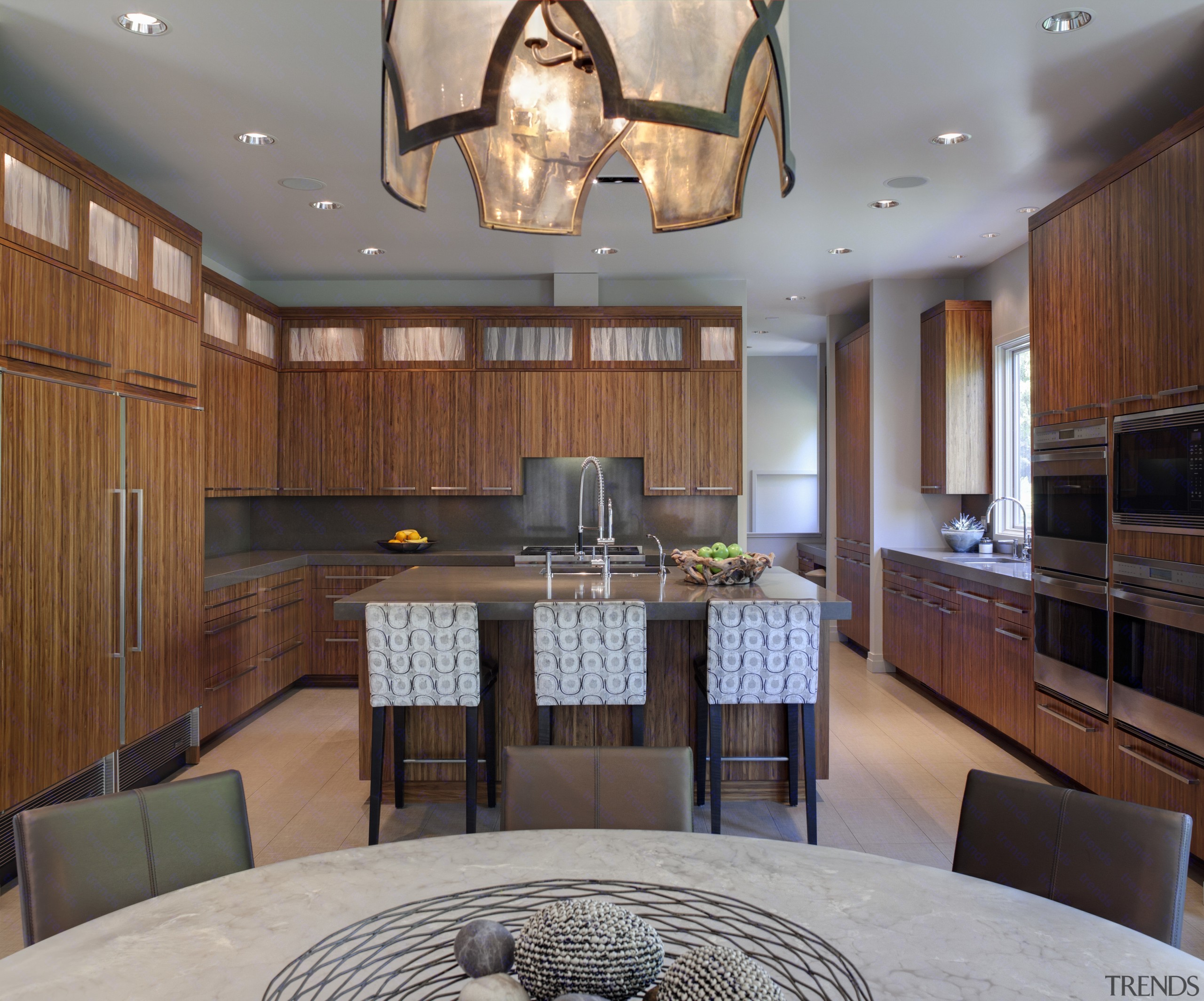 boxy kitchen with island and cabinets in a cabinetry, ceiling, countertop, cuisine classique, interior design, kitchen, real estate, room, gray, brown