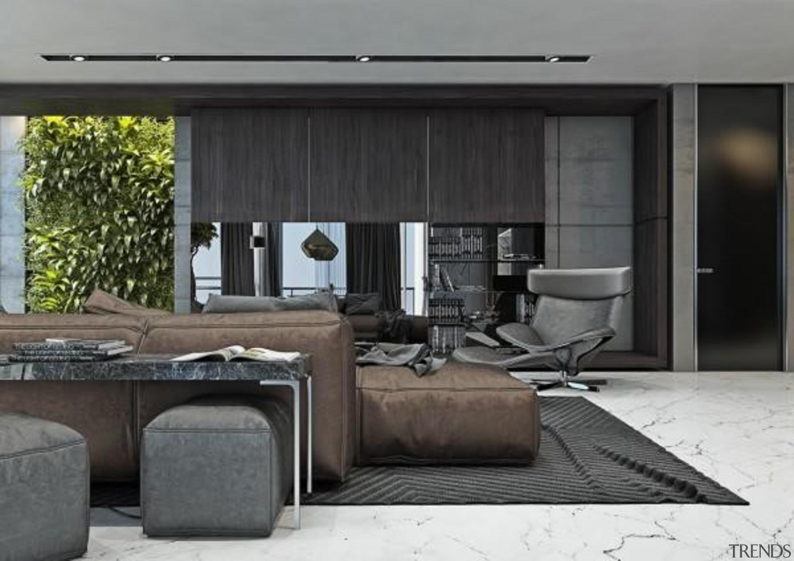 gray color palette - Masculine Apartments - floor floor, furniture, interior design, living room, table, black, gray