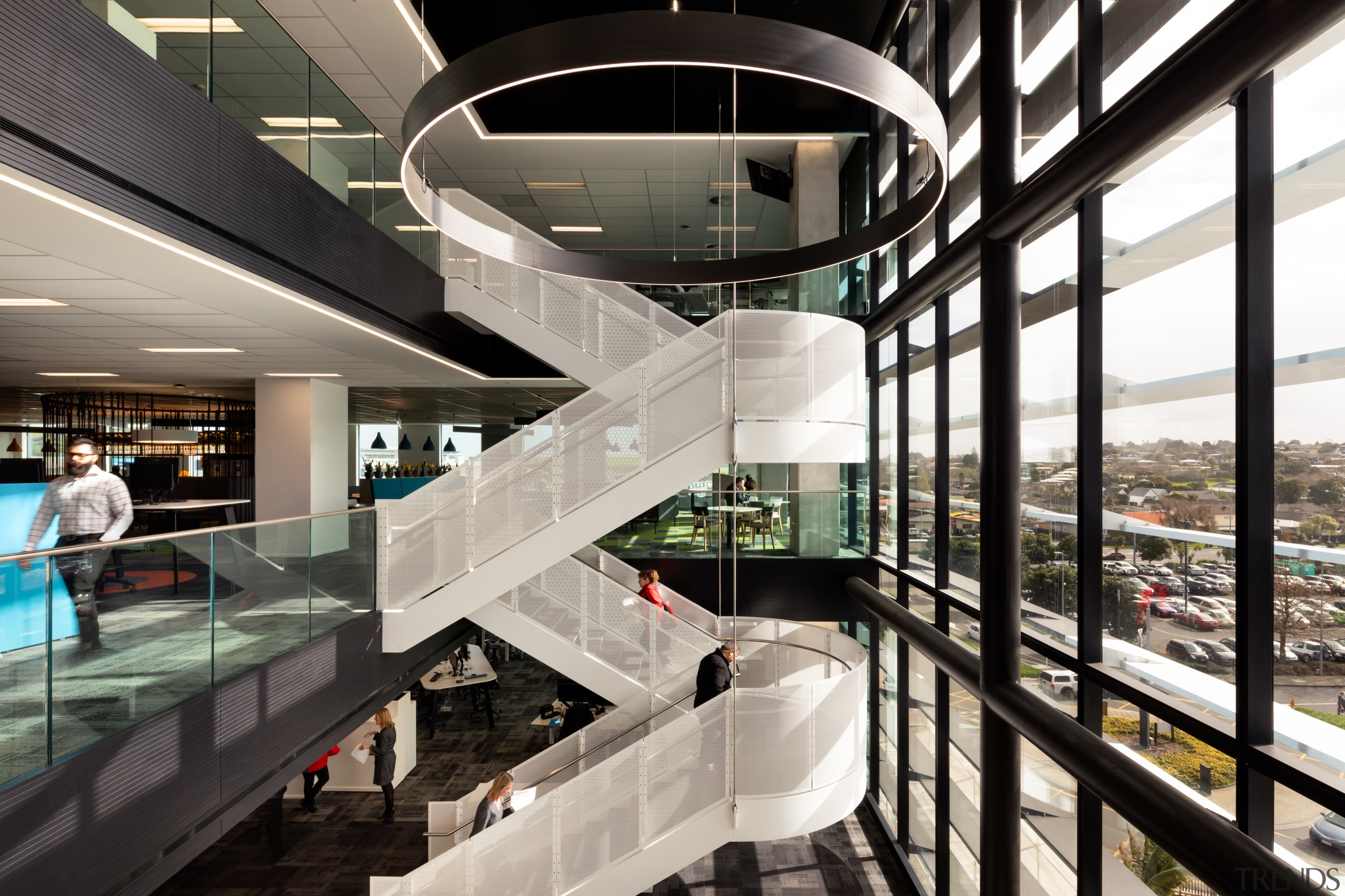 The base-build stairs at Architectus-designed No.1 Sylvia Park architecture, building, design, glass, handrail, mixed-use, stairs, Unispace, base-build stairs, Architectus, No 1 Sylvia Park, Unispace, IAG