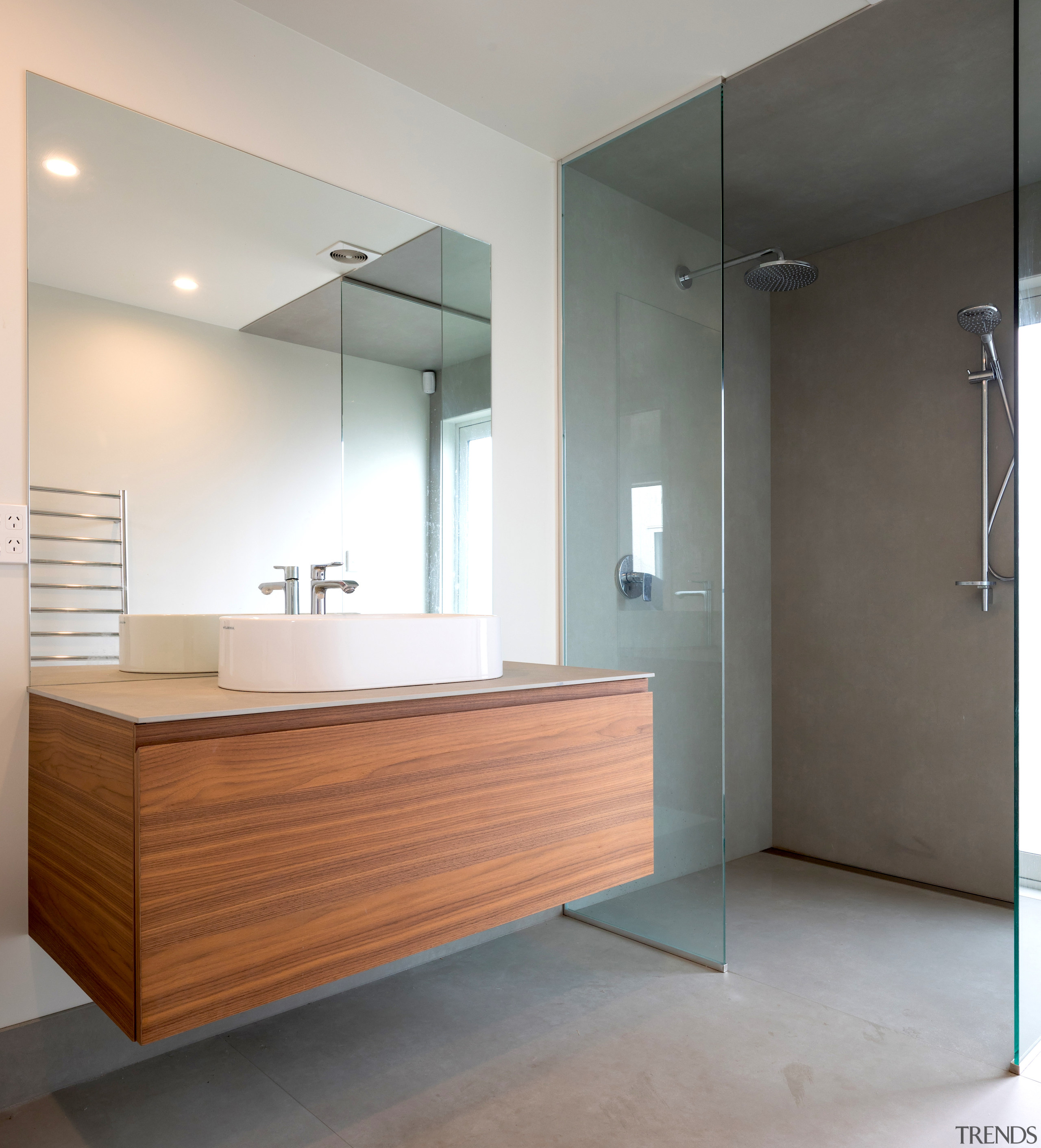 With clever drainage systems in place the overall architecture, bathroom, bathroom accessory, bathroom cabinet, bathtub, building, cabinetry, ceiling, daylighting, floor, flooring, furniture, glass, hardwood, home, house, interior design, material property, plumbing fixture, property, real estate, room, sink, tap, tile, wall, wood, gray