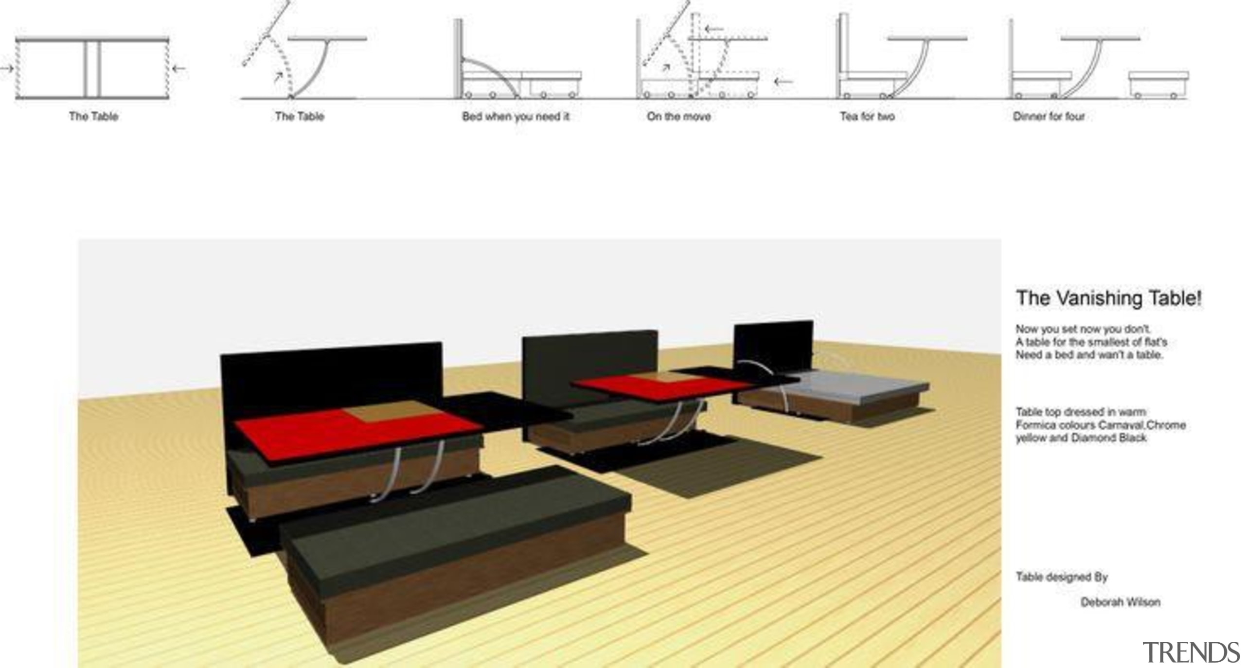 by Debra Wilson - Vanishing Table - angle angle, design, floor, furniture, product, product design, table, white