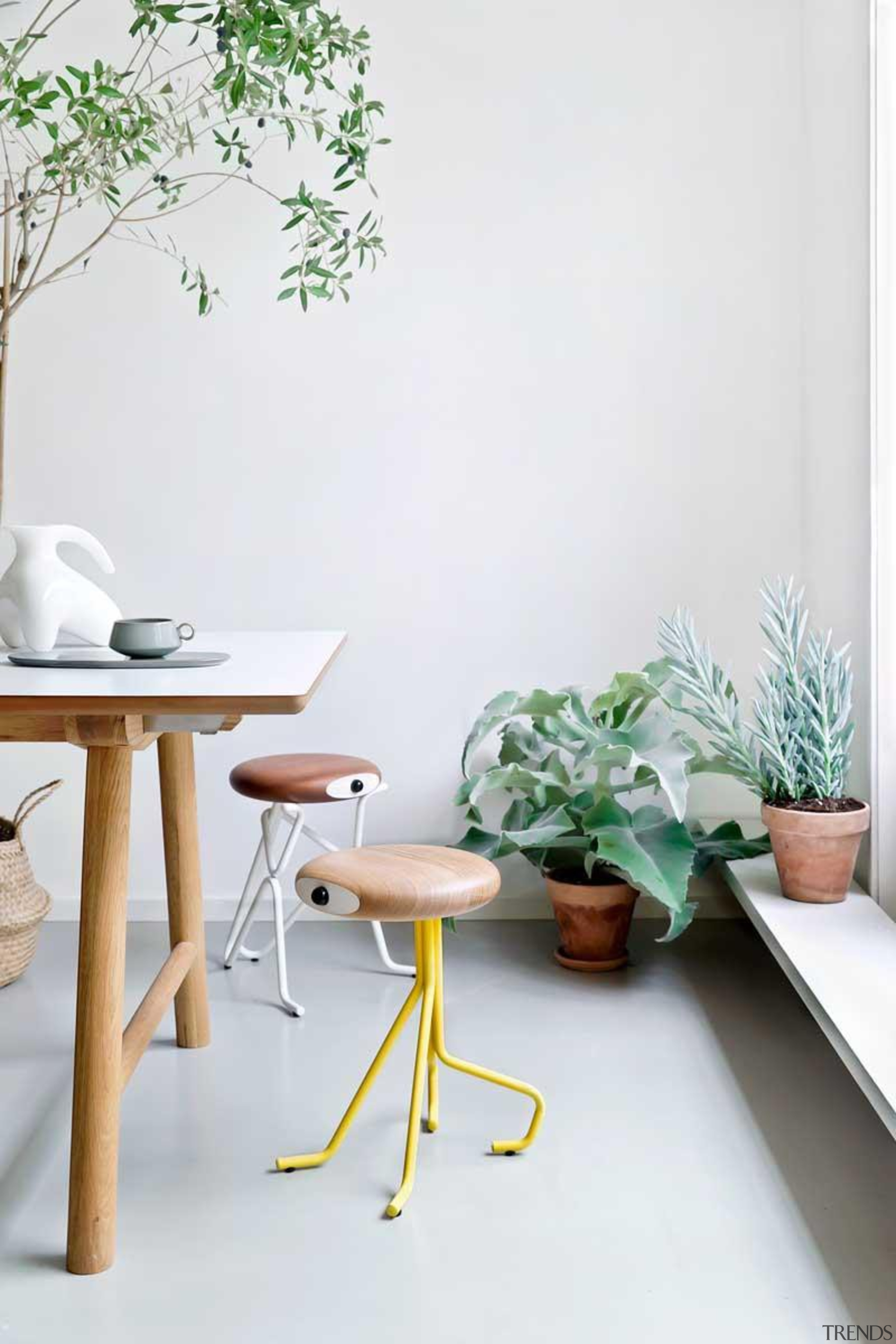 Don't be mistaken, you're not looking at characters chair, floor, flowerpot, furniture, home, houseplant, interior design, living room, product design, table, white