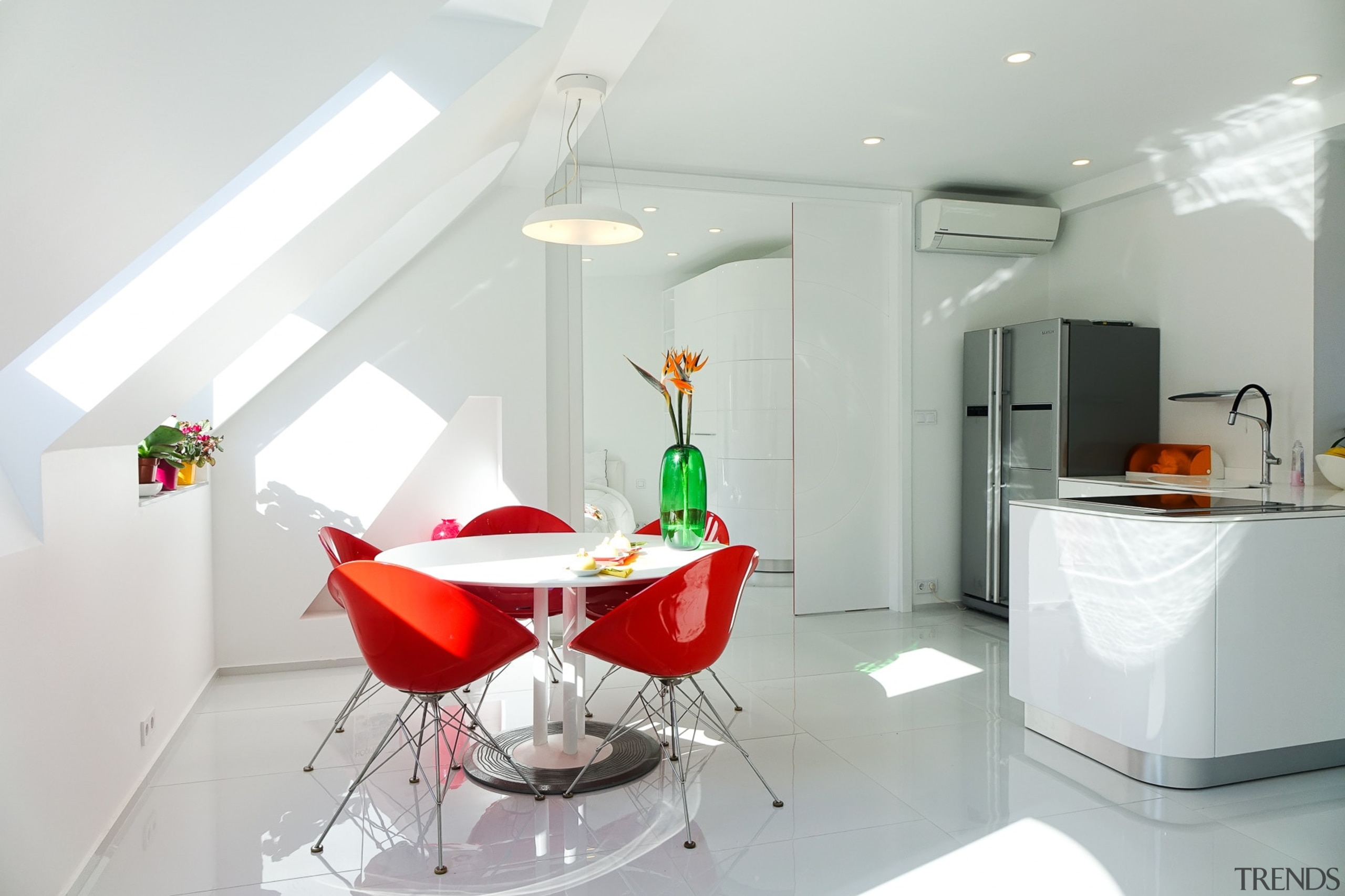 This dining area features a Leolux table, surrounded ceiling, furniture, interior design, product, property, room, table, gray, white