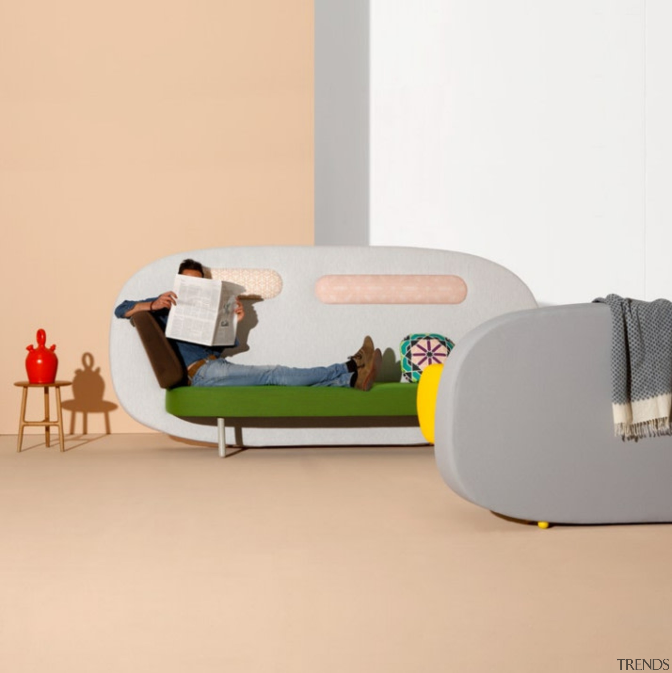 A playful mix of shapes, colours and textures couch, furniture, product, product design, table, white, orange