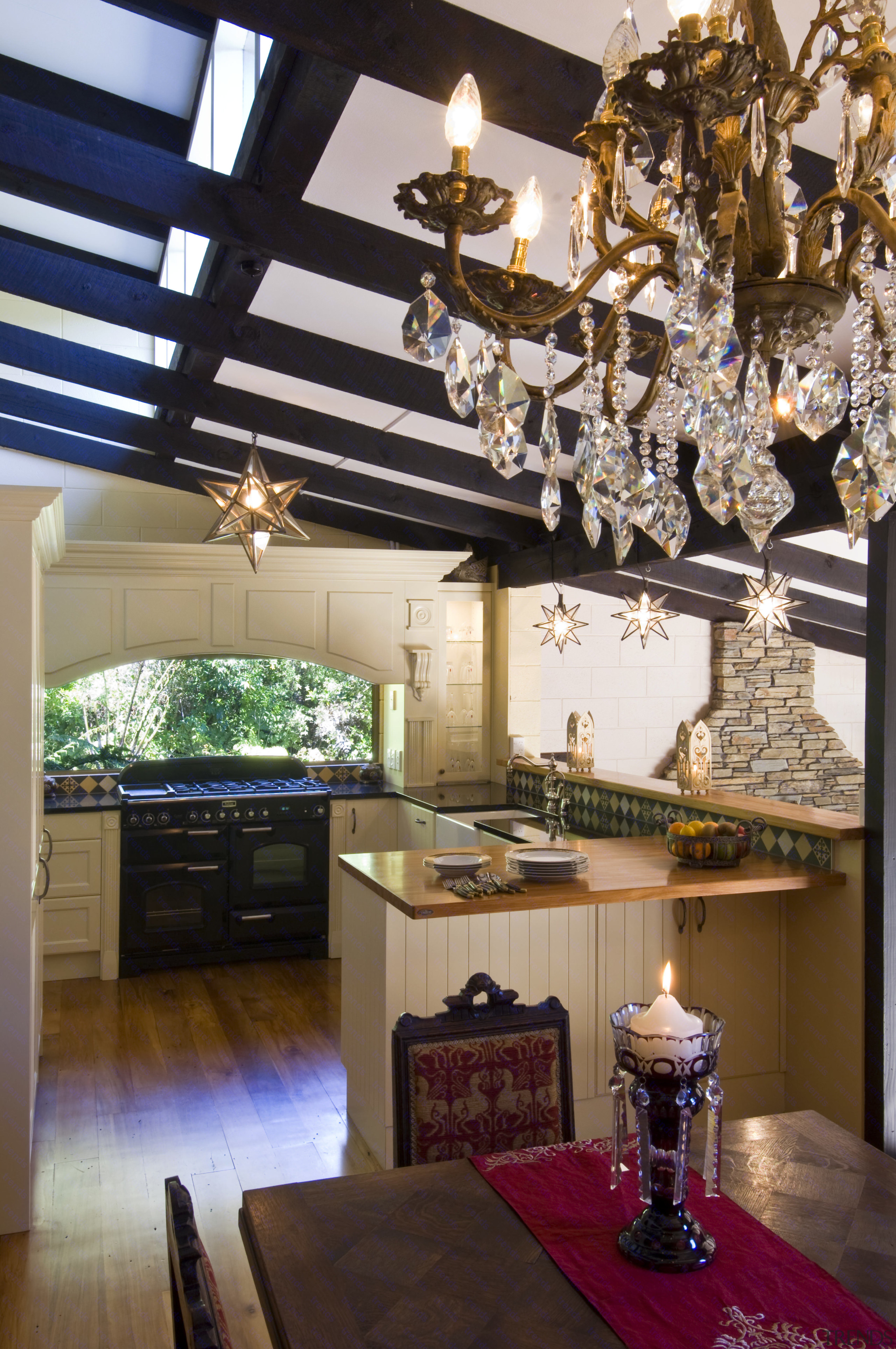 Kitchen Features Dark Stained Beams, Large Walk In Pantry, Chandeliers, Classical