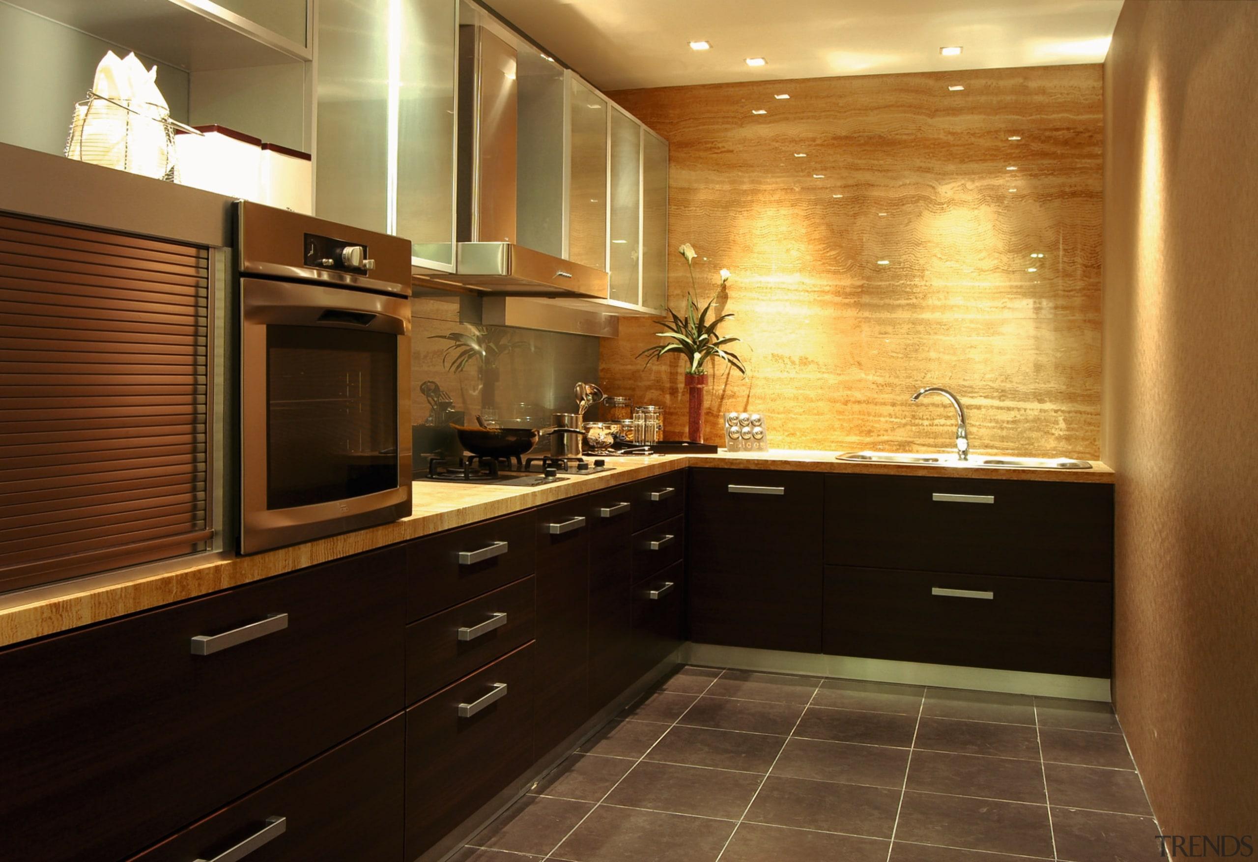 view of this kitchen from Art et Domain cabinetry, countertop, cuisine classique, floor, flooring, interior design, kitchen, room, under cabinet lighting, brown, black