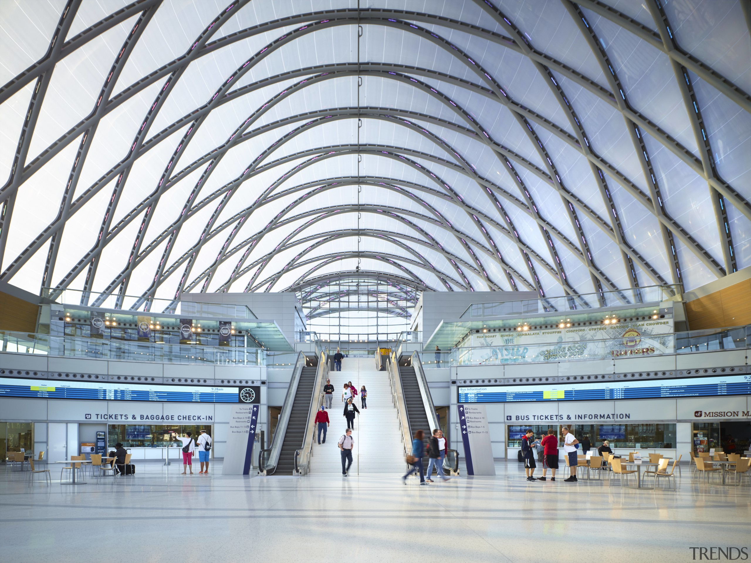 The new ARTIC transit hub in Anaheim is airport, airport terminal, architecture, building, daylighting, infrastructure, metropolis, metropolitan area, shopping mall, structure, white