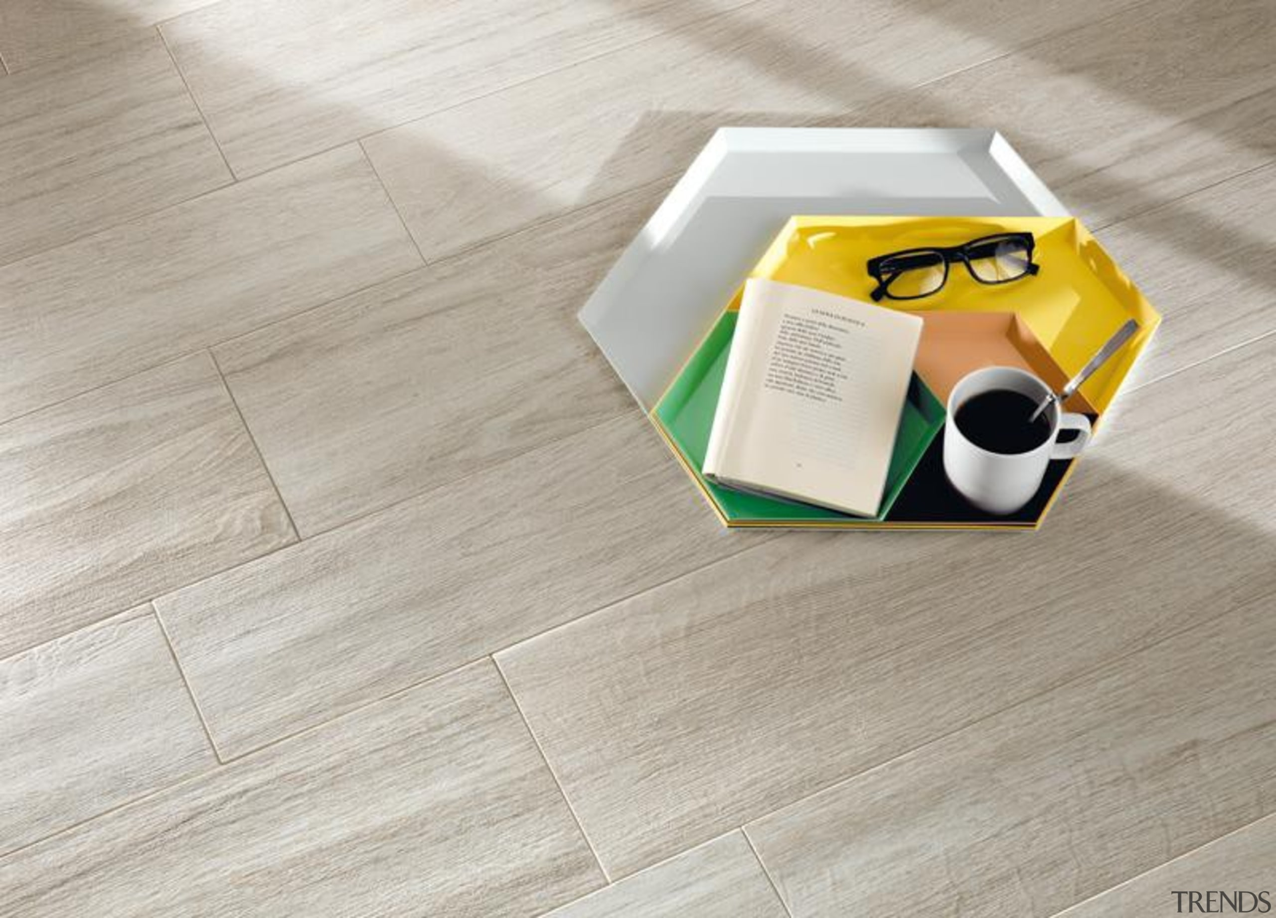 Bioplank oak ice interior anti-bacterial floor tiles. floor, flooring, hardwood, product design, table, tile, wood, wood flooring, yellow, gray