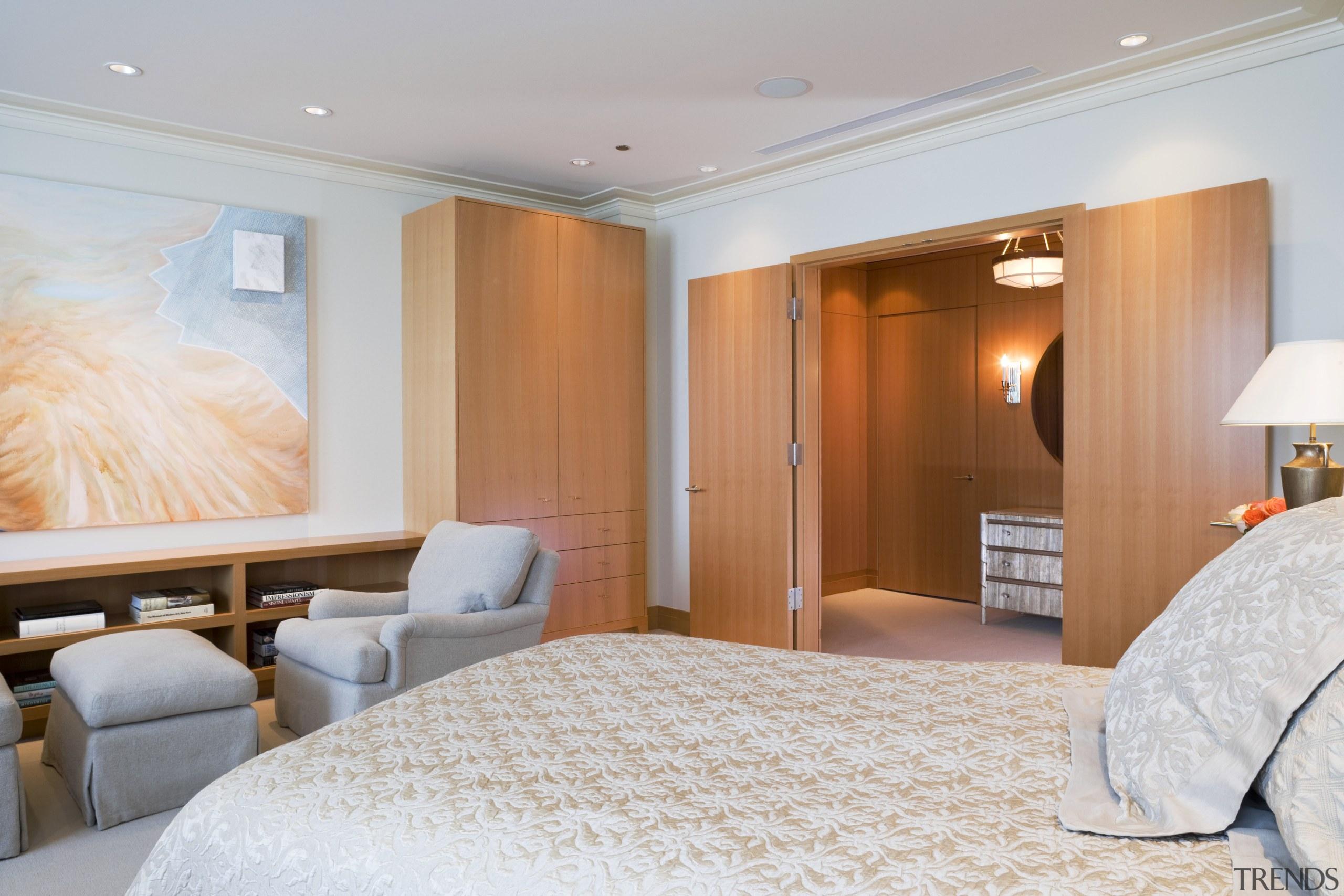 View of bedroom featuring bedroom room furnishings, artwork, bedroom, ceiling, interior design, real estate, room, suite, wall, gray