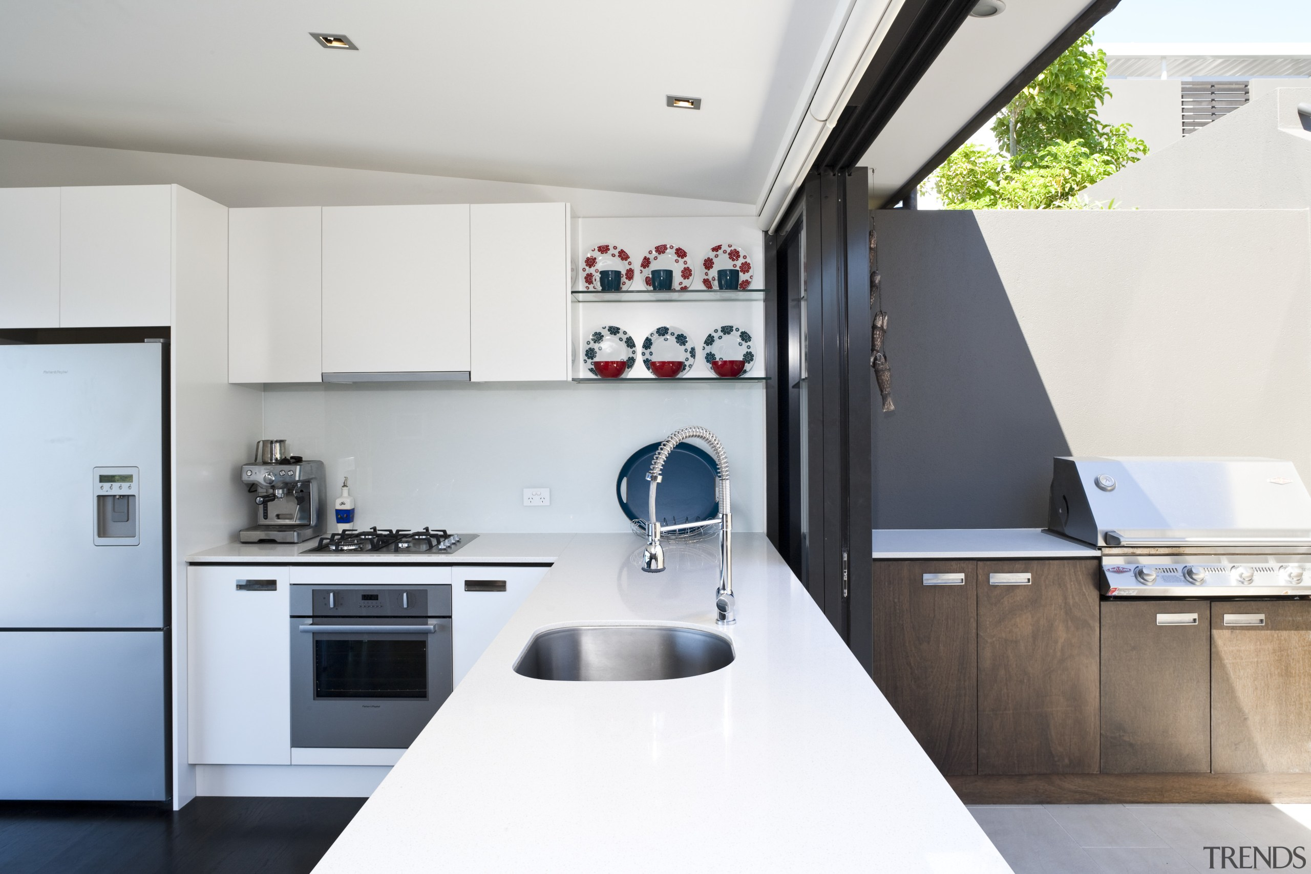 View of kitchen featuring outdoor serving area, white countertop, interior design, kitchen, product design, white