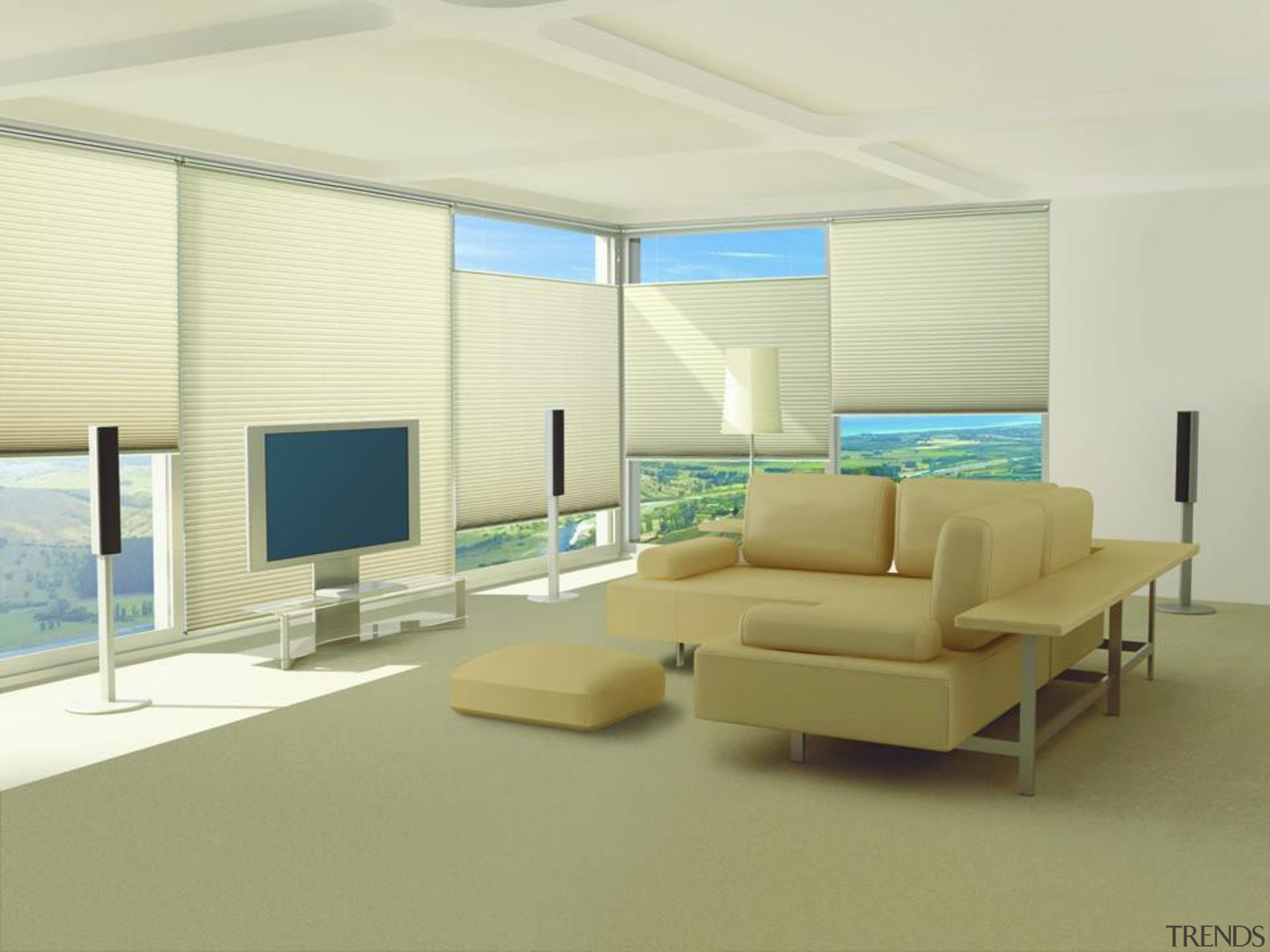 luxaflex duette shades - luxaflex duette shades - architecture, ceiling, daylighting, floor, interior design, living room, real estate, shade, wall, window, window blind, window covering, window treatment, yellow