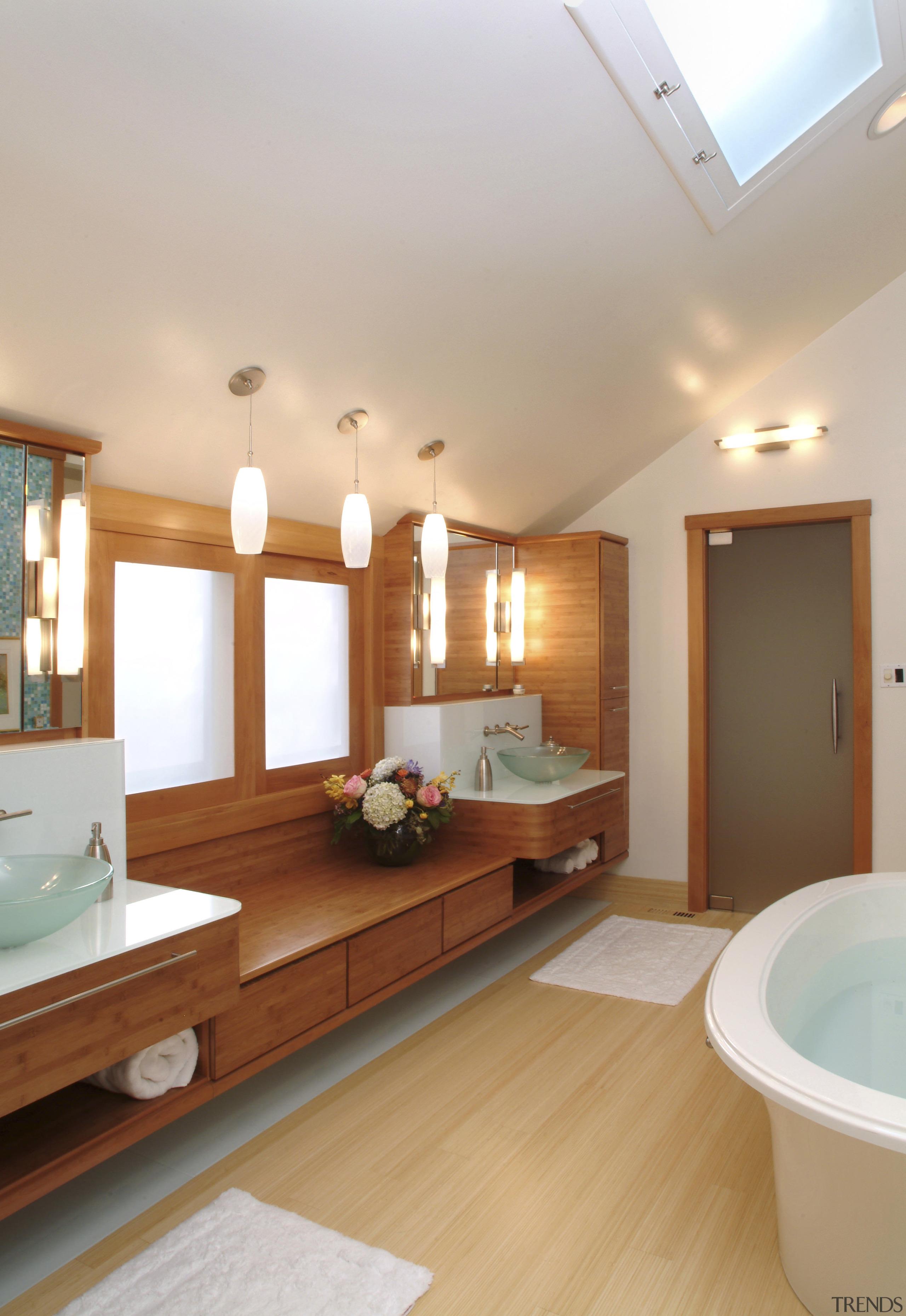 Image of a bathroom designed by an NKBA bathroom, ceiling, floor, flooring, hardwood, home, interior design, real estate, room, sink, wood flooring, gray, orange