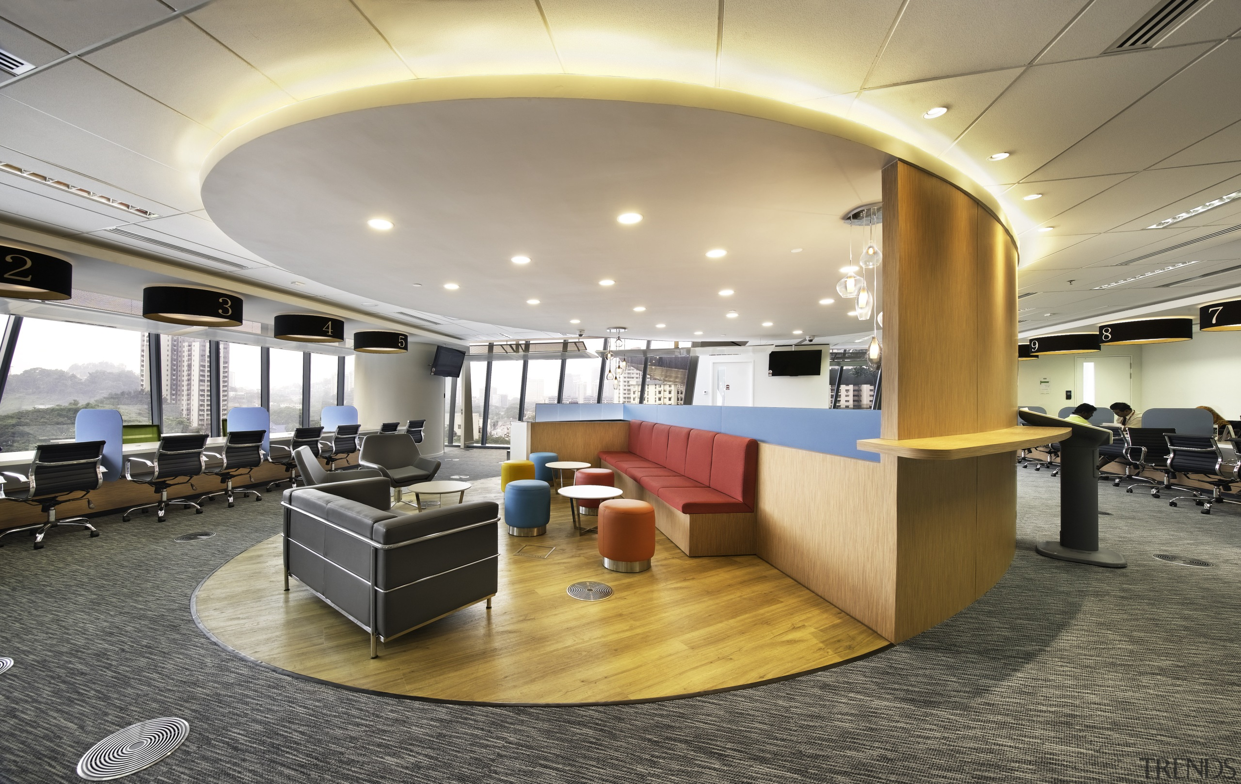 A casual meeting hub on the fifth-level customer ceiling, conference hall, institution, interior design, lobby, office, gray