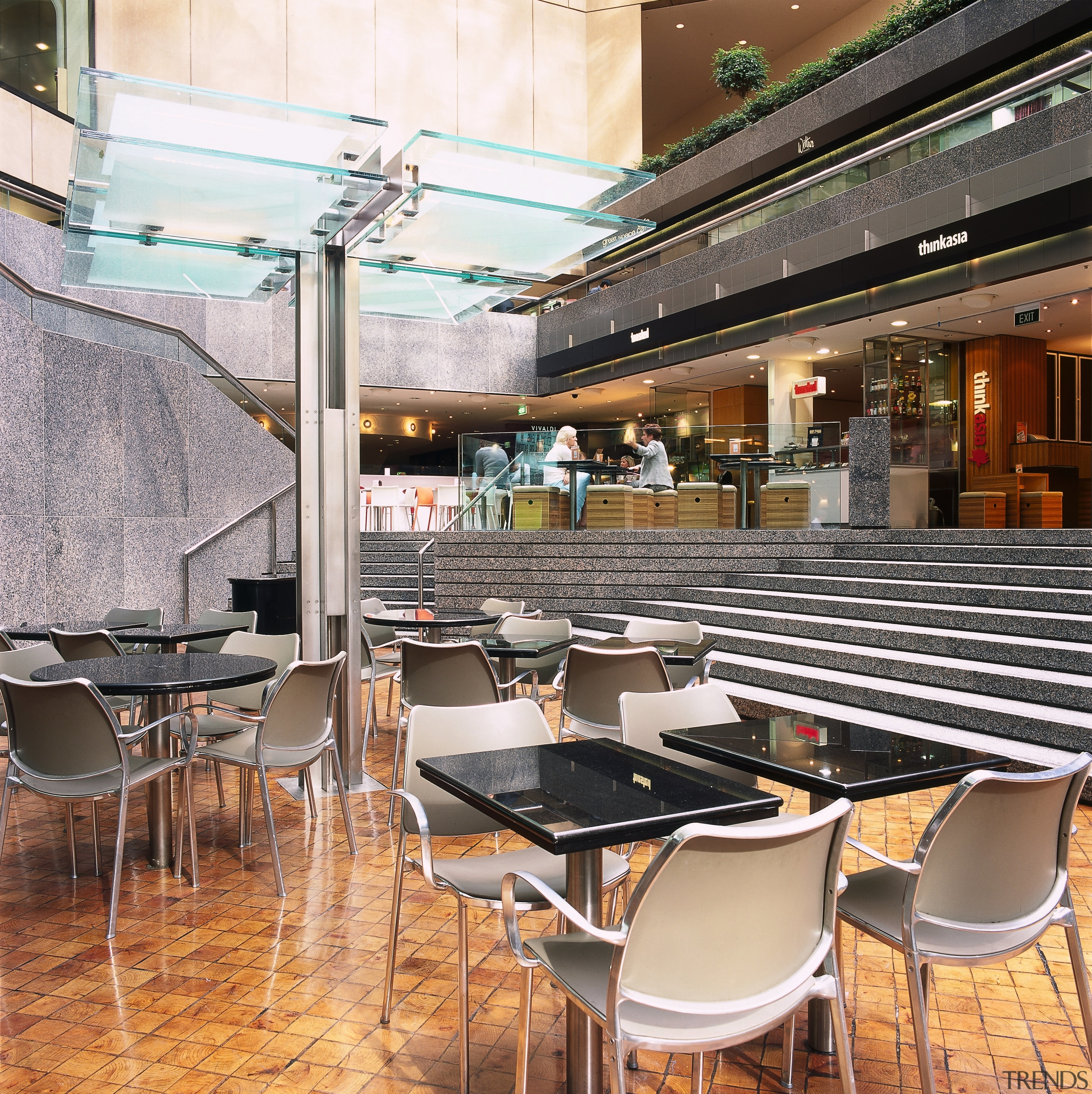 A close up view of the seating used café, interior design, restaurant, table, white