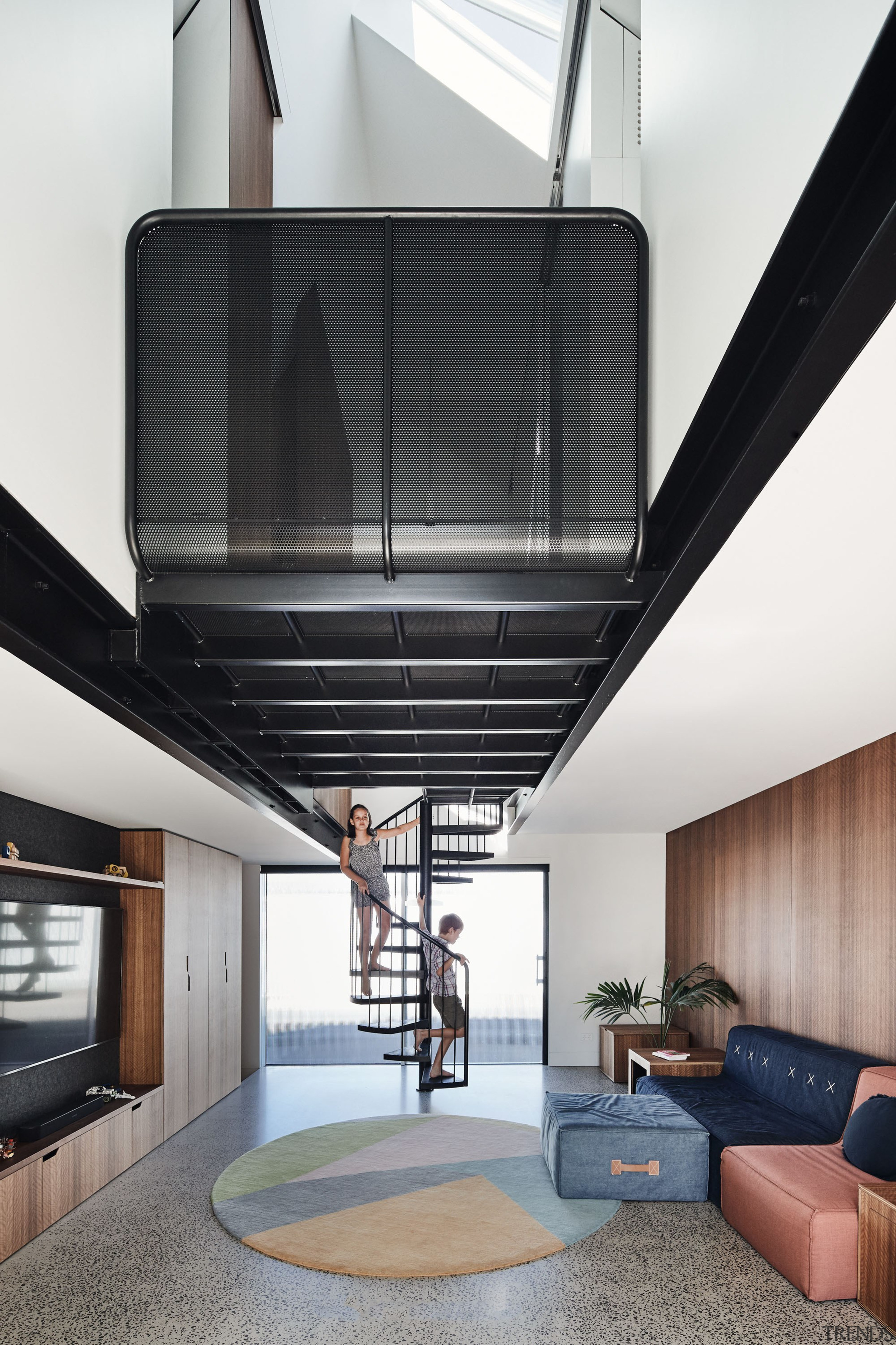 In this home, upstairs to bed takes on white, black