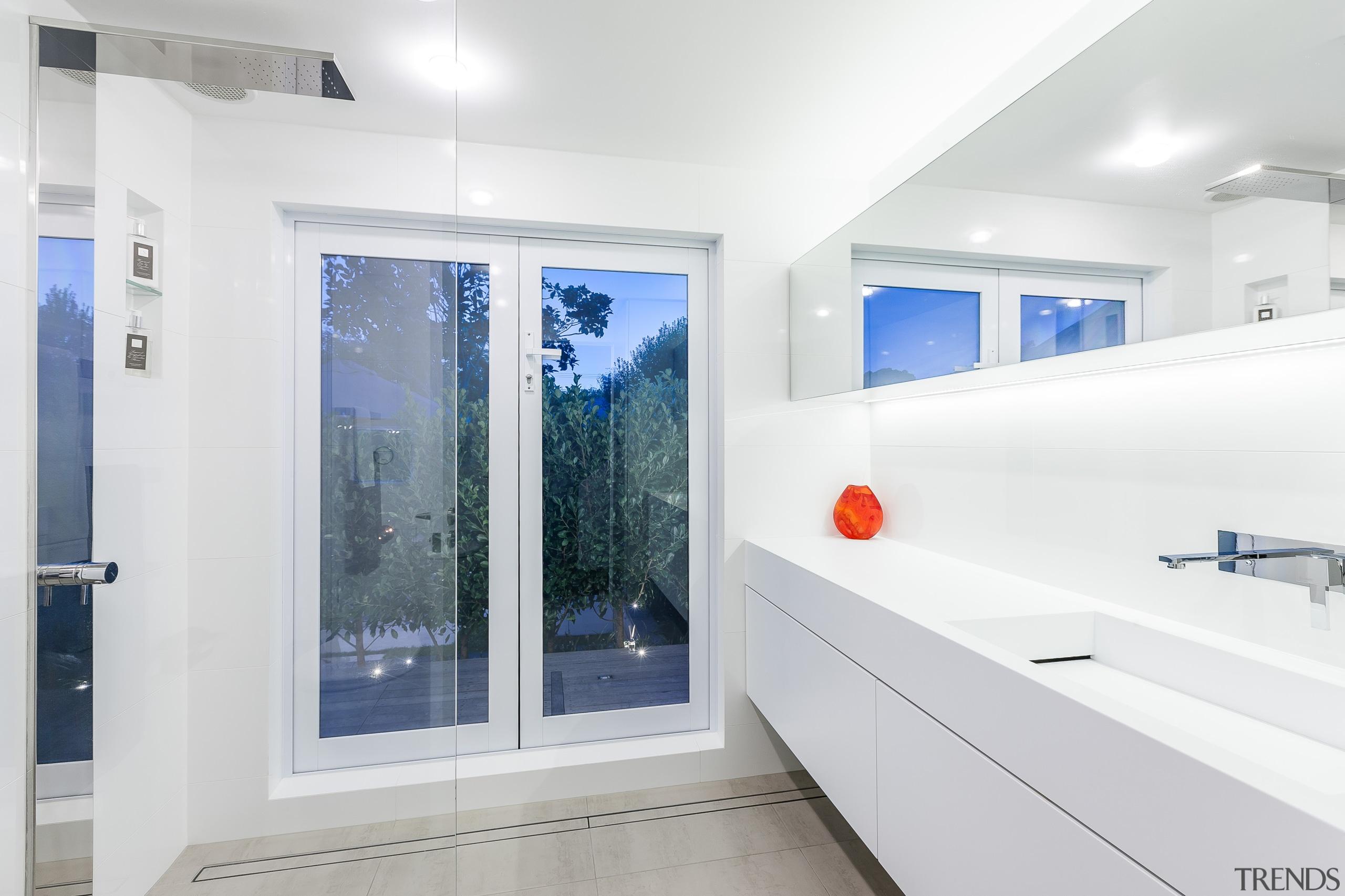 This white bathroom by designer Celia Visser took bathroom, interior design, real estate, room, window, white
