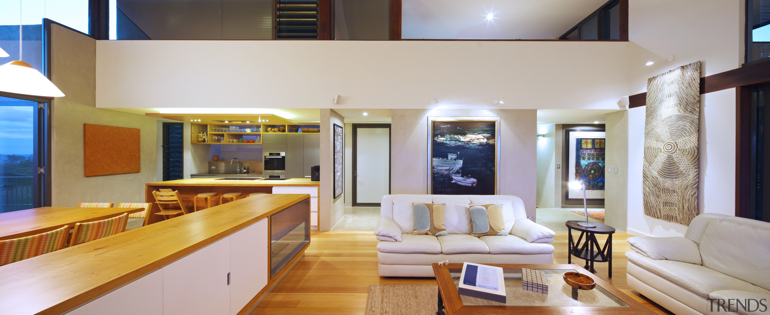 The mezzanine level at the rear of this ceiling, interior design, living room, real estate, gray