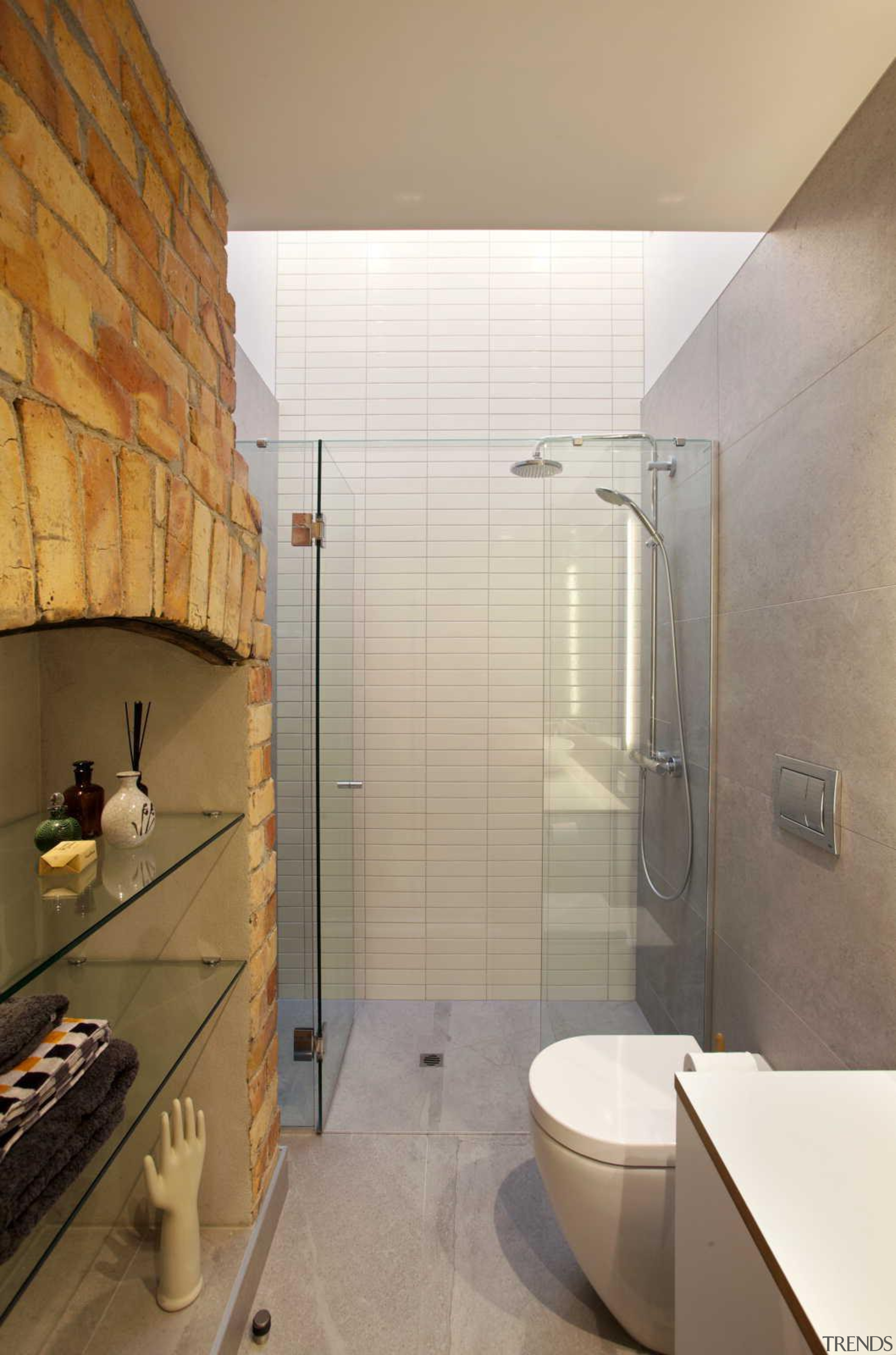 Pairing rustic with modern in the new bathroom. architecture, bathroom, floor, interior design, plumbing fixture, property, room, tile, wall, gray, brown
