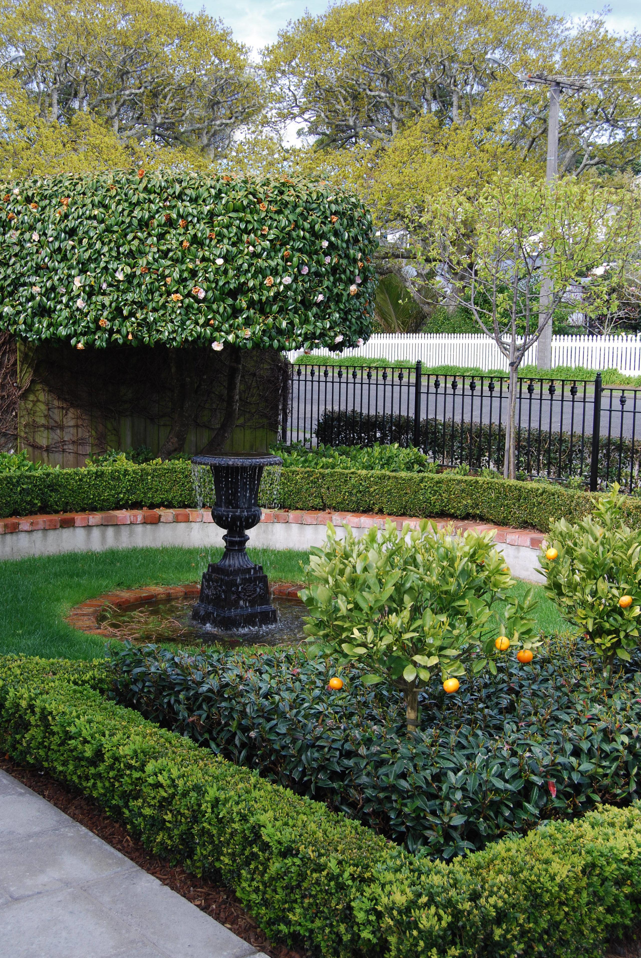 View of formal garden designed by Michael Mansvelt botanical garden, evergreen, flower, garden, grass, hedge, landscape, landscaping, leaf, outdoor structure, plant, shrub, tree, walkway, yard, green