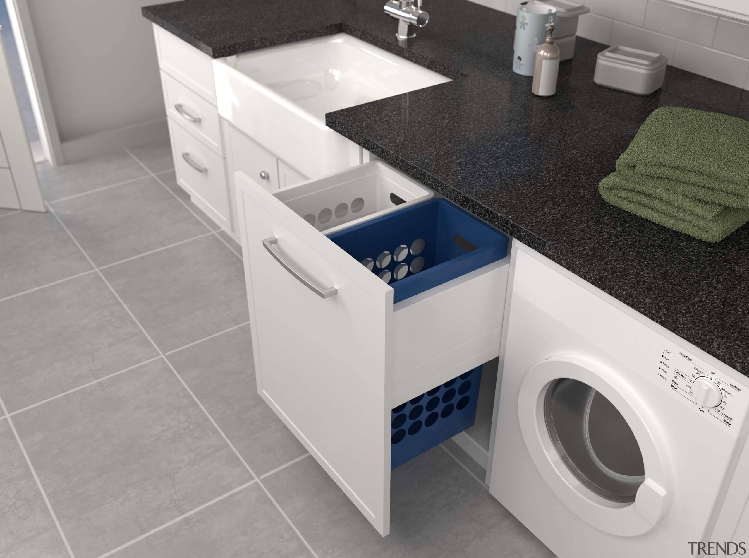 Tanovas range of pull-out systems is specifically designed clothes dryer, home appliance, laundry, laundry room, major appliance, product, product design, sink, washing machine, gray