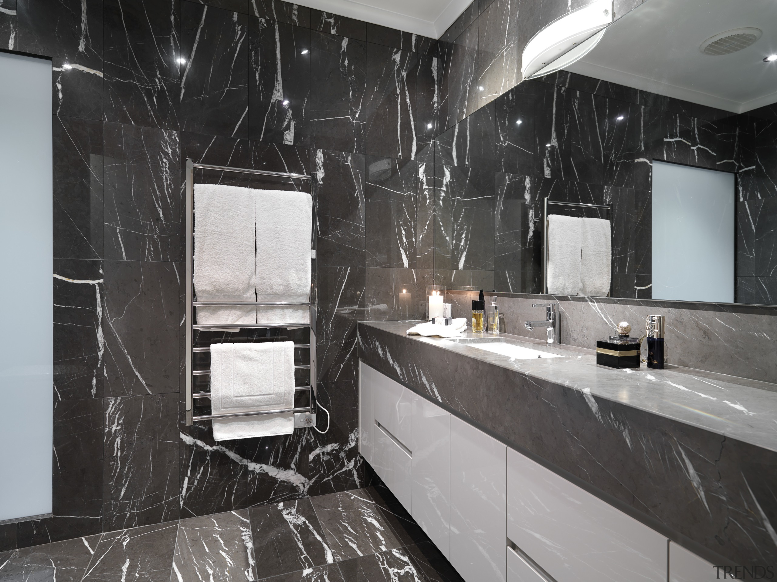 View of bathroom which features chocolate-coloured marble floor bathroom, countertop, floor, flooring, interior design, kitchen, property, room, black, gray