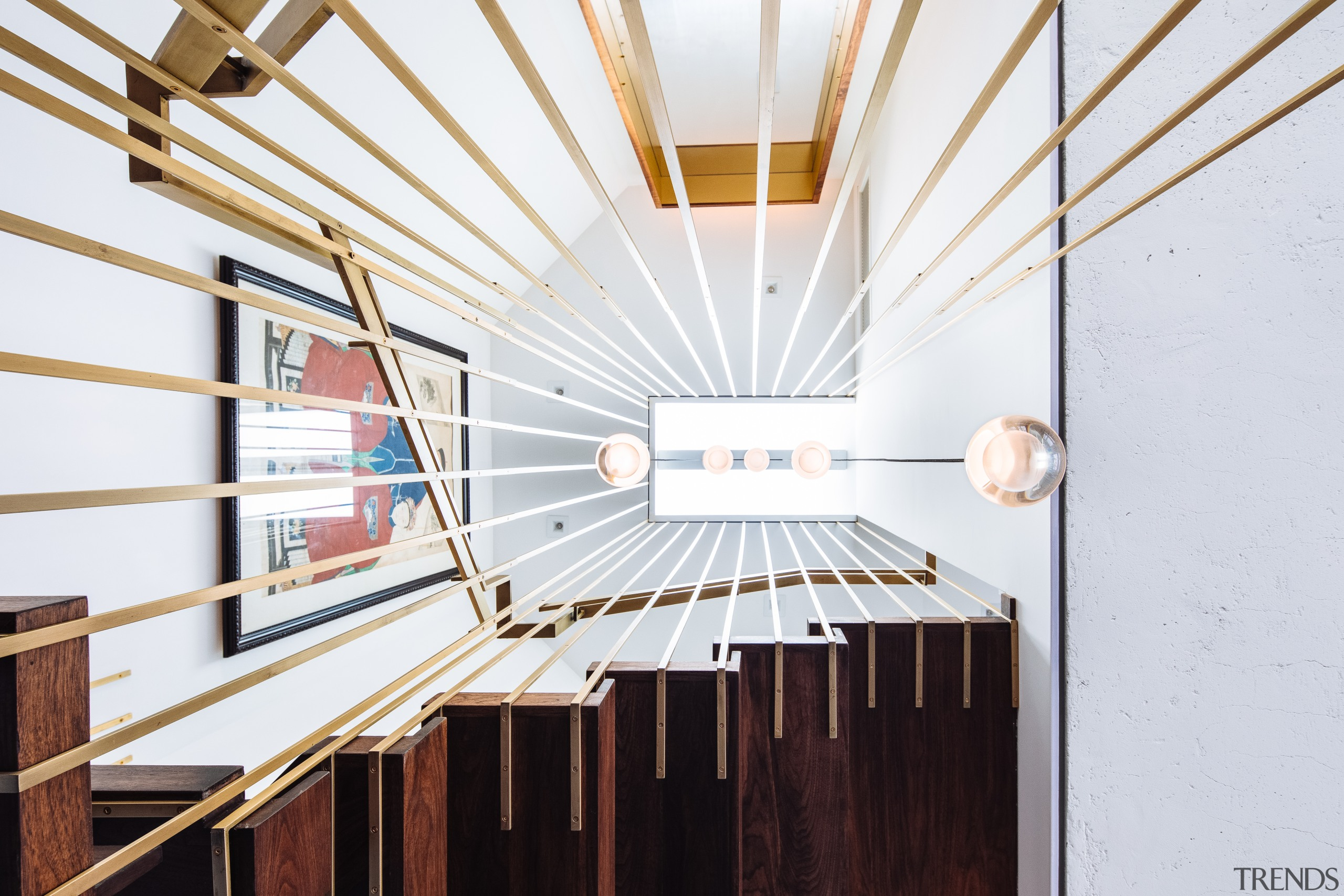 View to the top – bronze plated steel architecture, penthouse, building, design, stiarway, interior design, Andrew Wilkinson