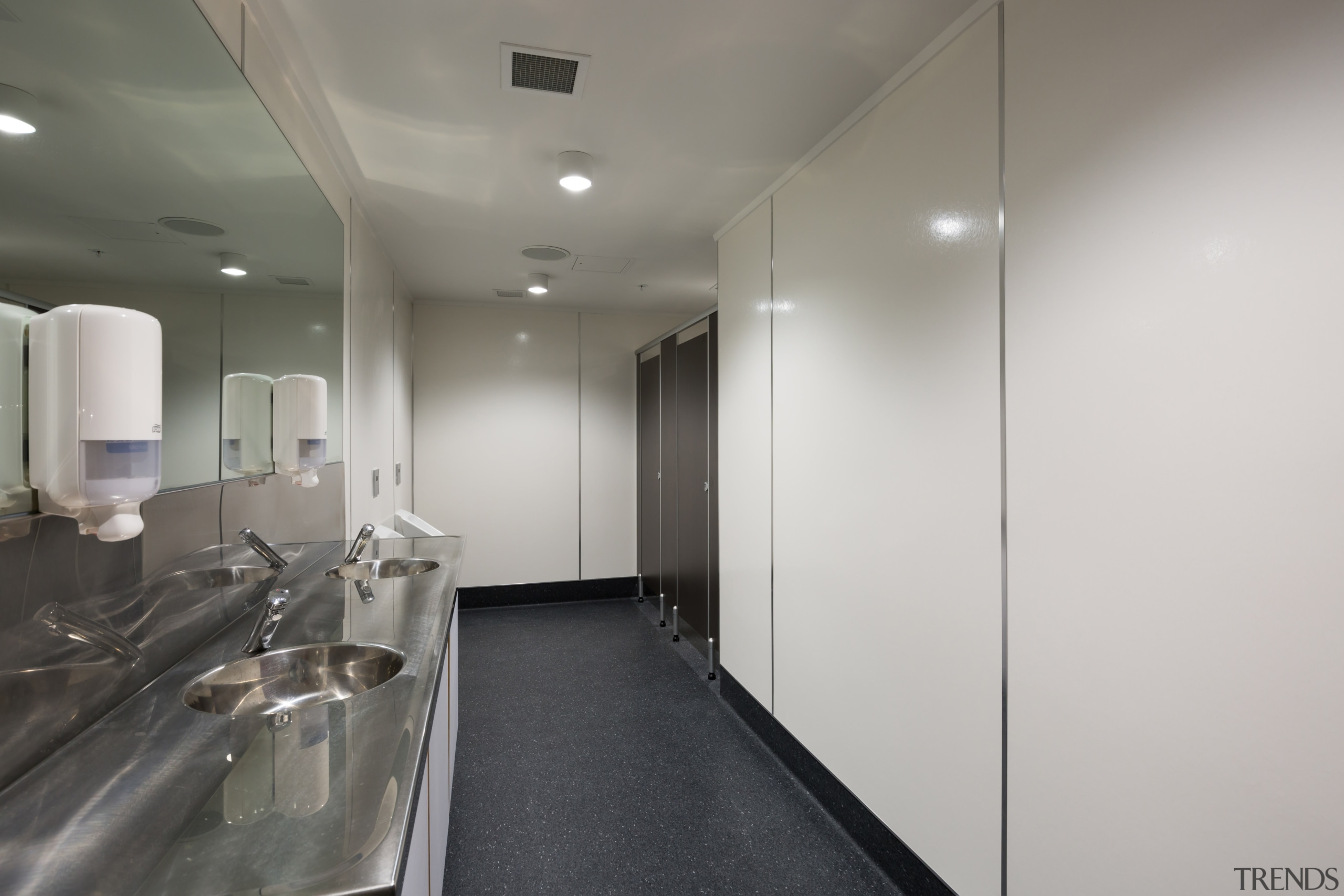 High-impact strength-, stain-, scratch- and moisture-resistant, and not architecture, ceiling, floor, glass, interior design, office, real estate, gray