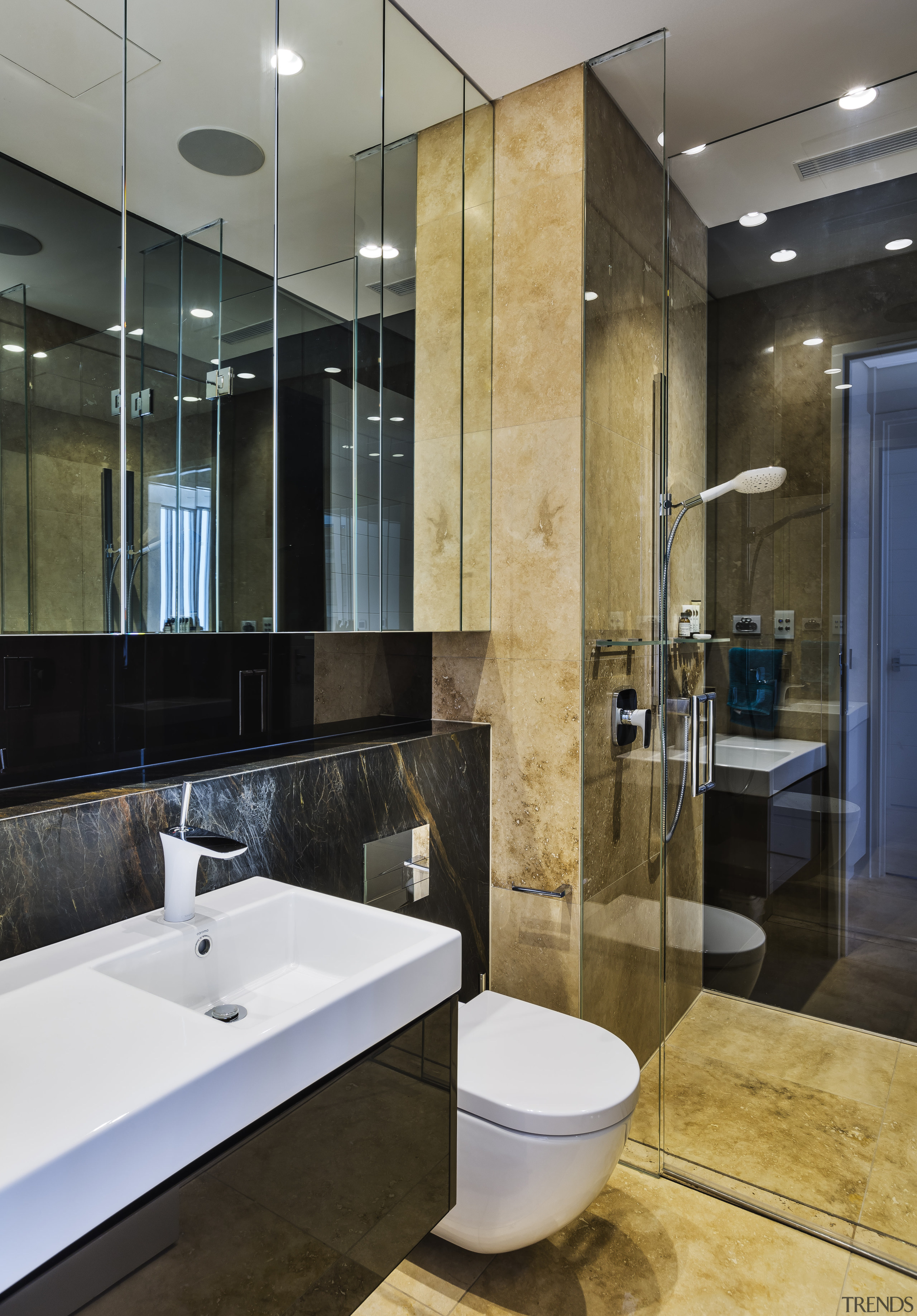 Natural stone is a feature of this ground architecture, bathroom, countertop, floor, interior design, tiles, black, family bathroom, natural stone, Giles & Tribe