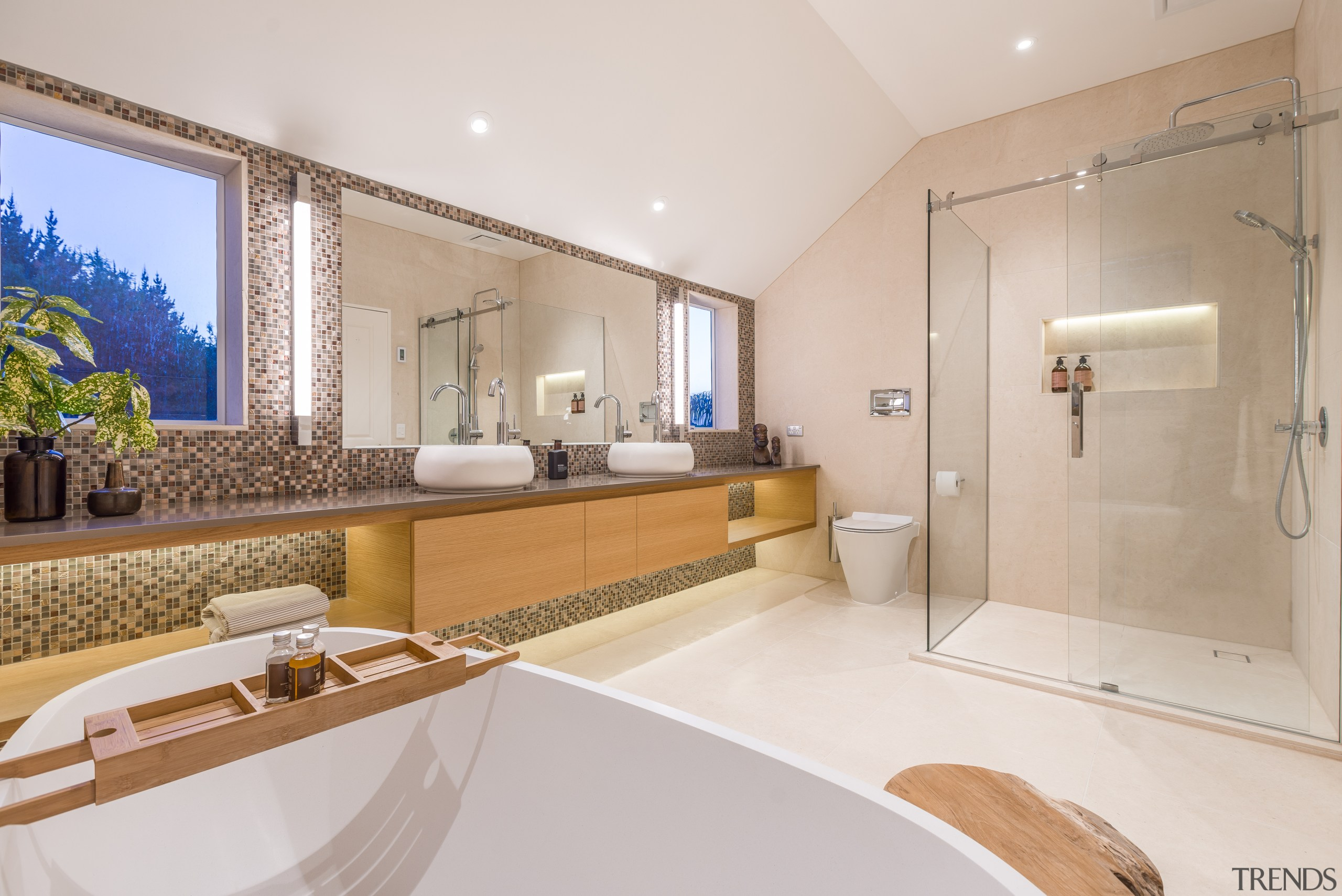 The owners wanted their renovated master suite to bathroom, estate, home, interior design, property, real estate, room, suite, gray