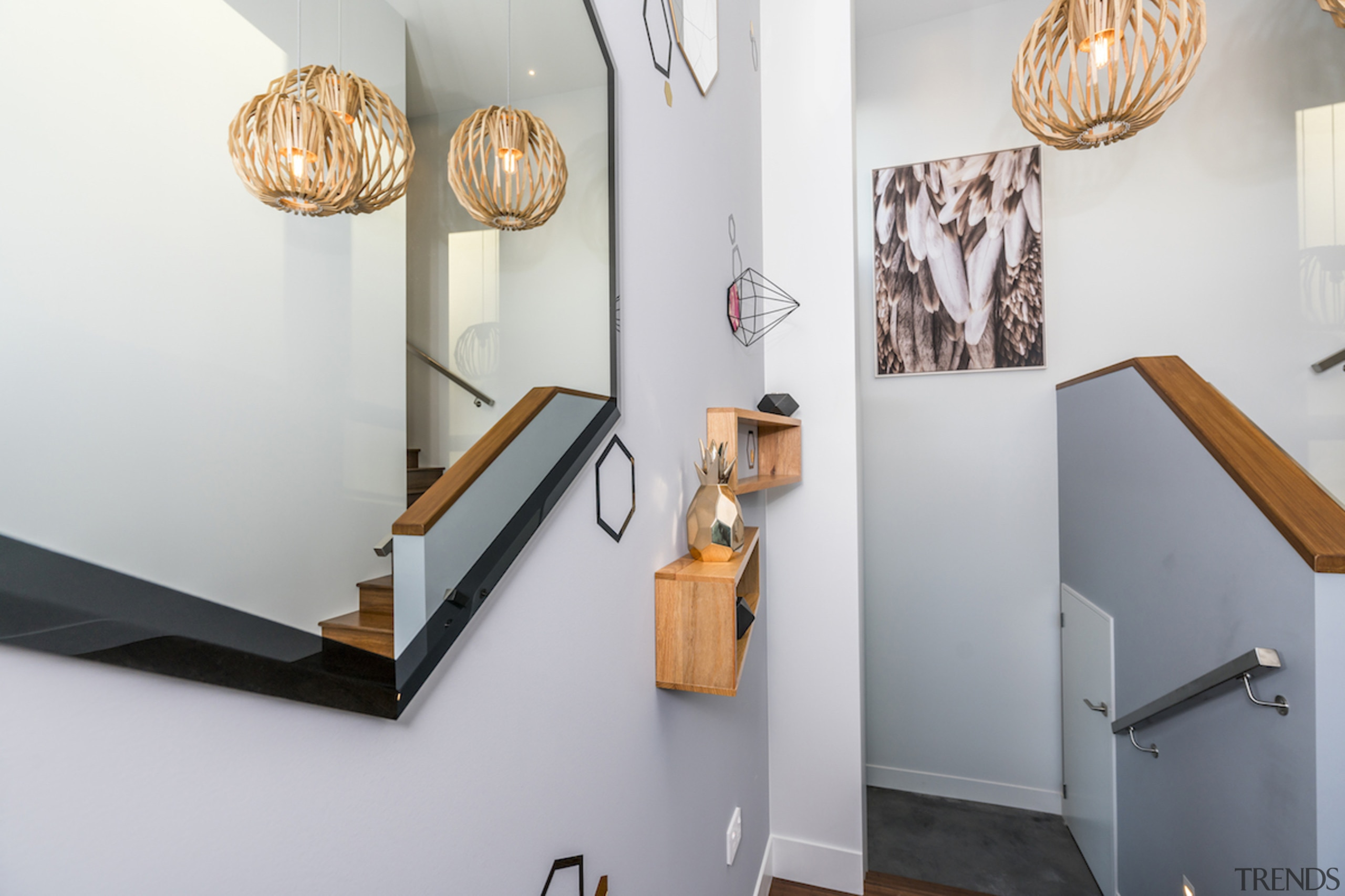 Stairway in sustainable home by Hybrid Homes & furniture, interior design, lamp, light fixture, lighting, shelf, gray, white