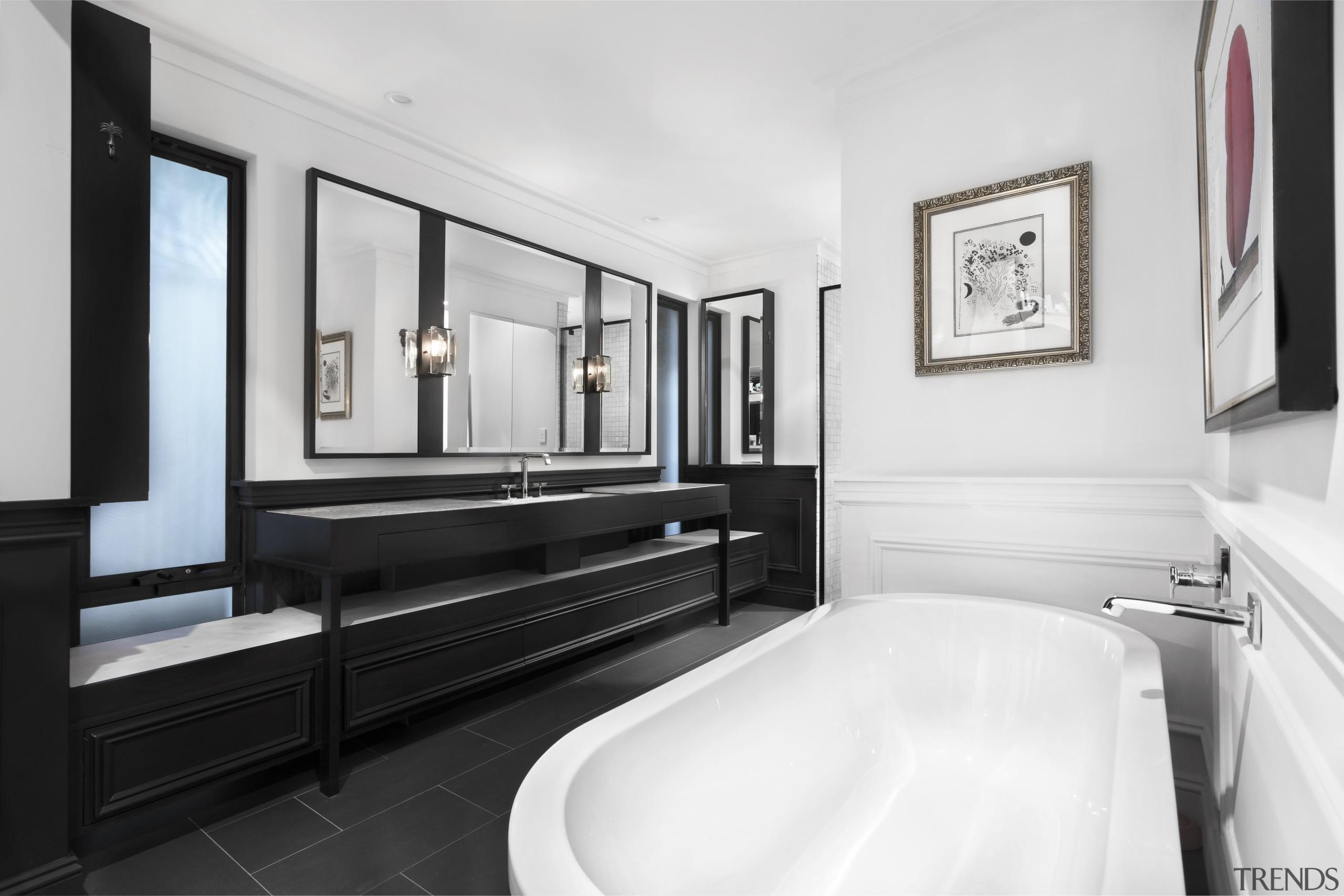 Nz3405Leonhouse–268574082–05 - bathroom | floor | interior design bathroom, floor, interior design, room, suite, white, black