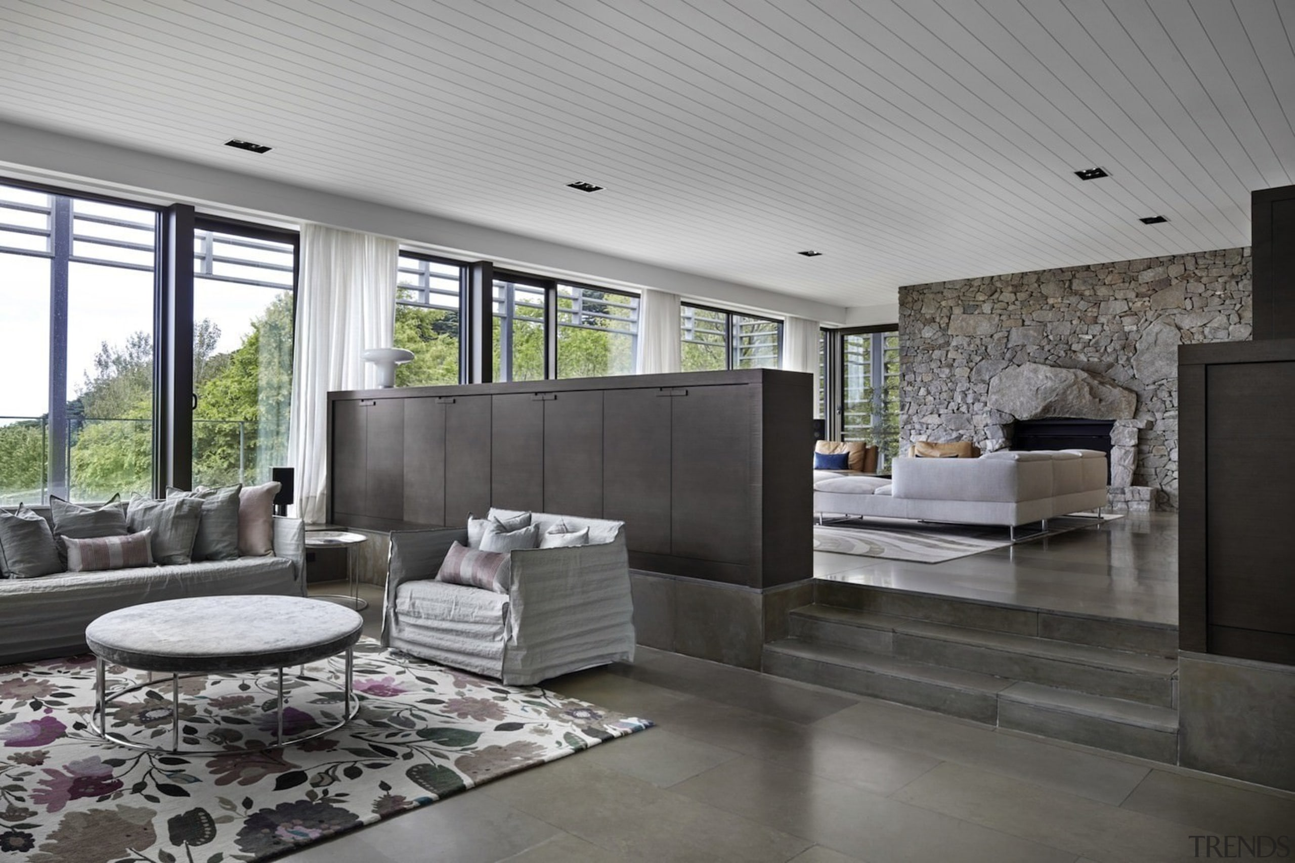 Architect: B.E Architecture architecture, ceiling, floor, house, interior design, living room, lobby, real estate, gray, black