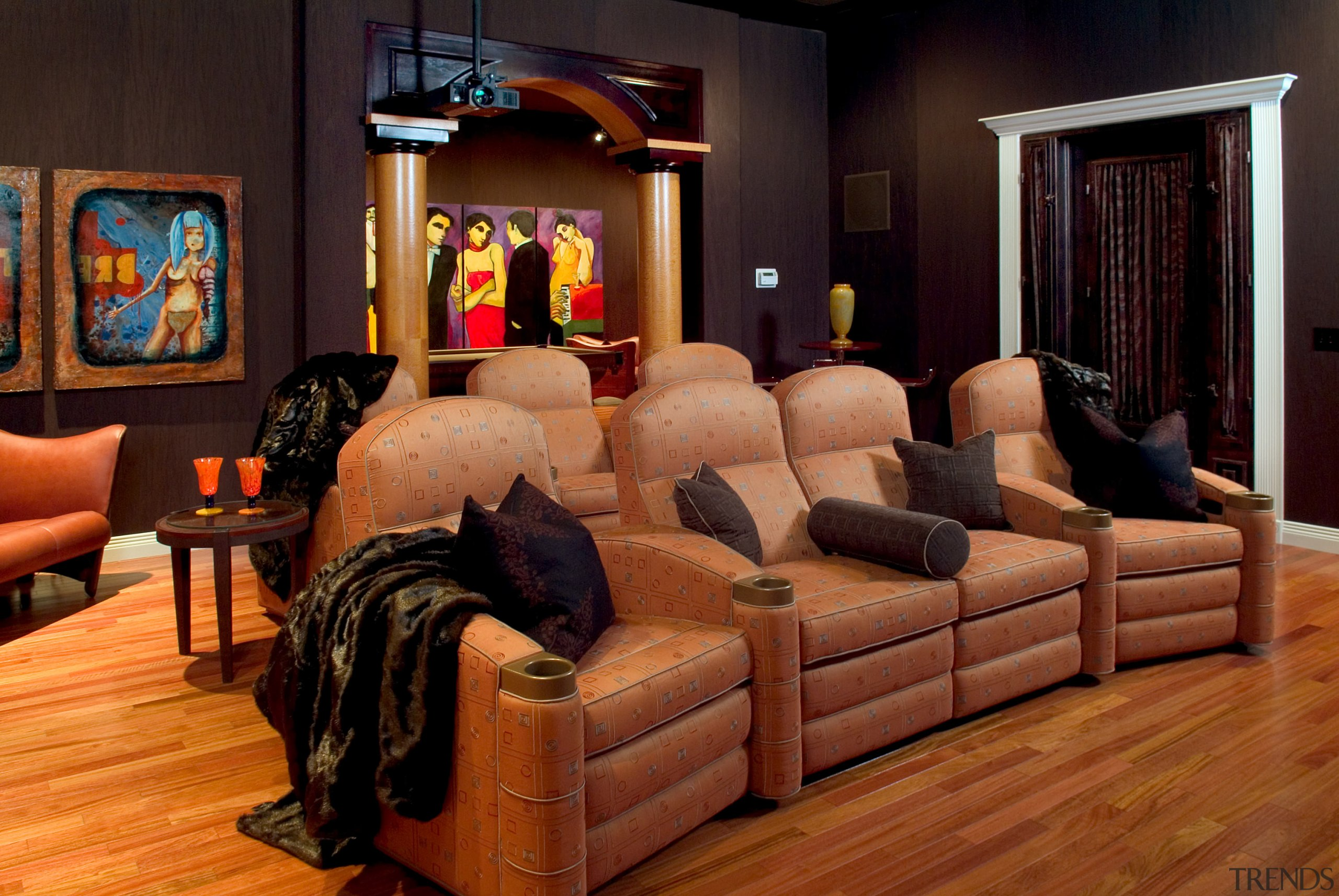 Theater room lazy boy chairs - Theater room floor, flooring, furniture, hardwood, home, interior design, living room, room, wood, black, brown