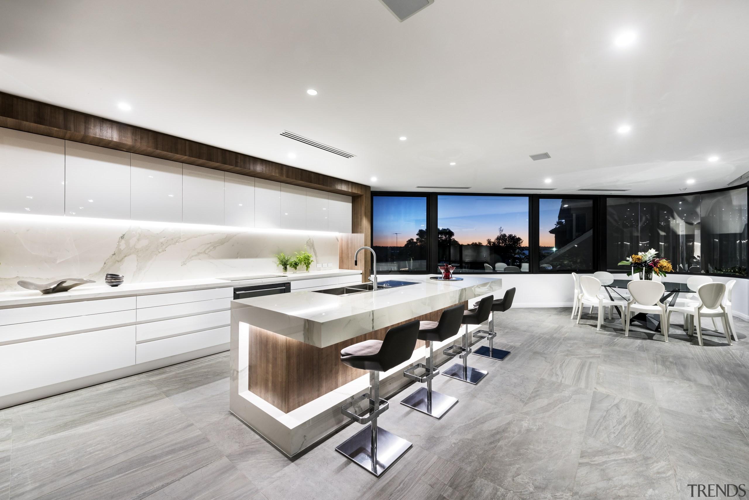 Kitchen plus view – contemporary new home by floor, interior design, kitchen, gray