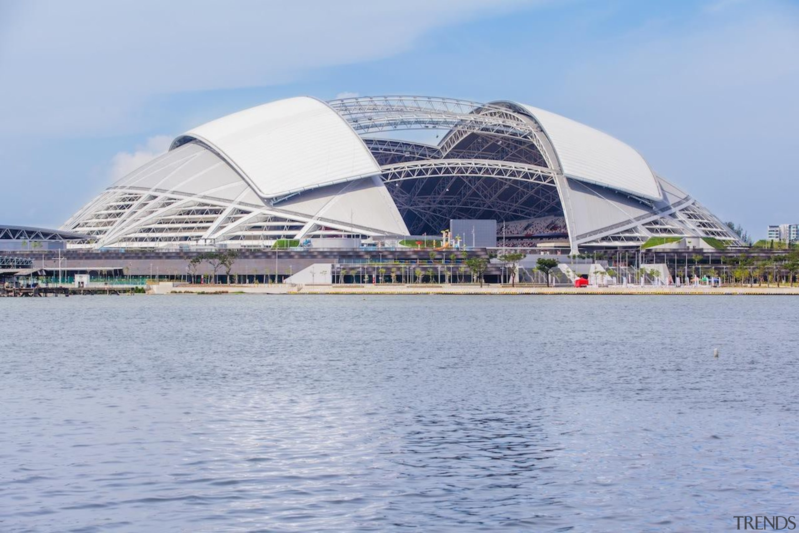 Singapore-based engineering company MHE-Demag provided the roof moving daytime, opera house, sky, sport venue, structure, waterway, teal