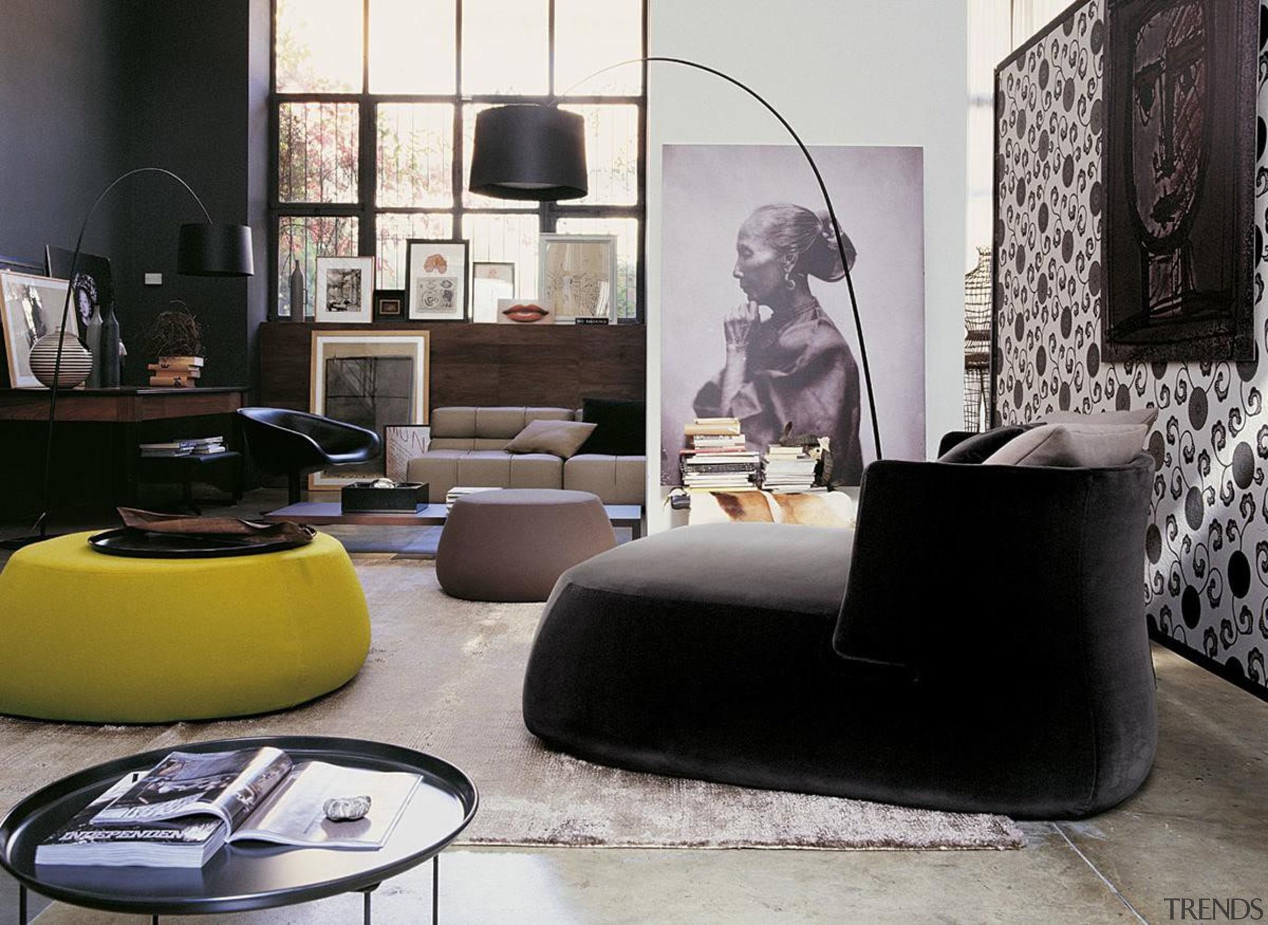 Fat sofa by Patricia Urquiola for B&B Italia chair, couch, floor, flooring, furniture, interior design, lamp, light fixture, lighting, living room, product design, room, table, black, gray