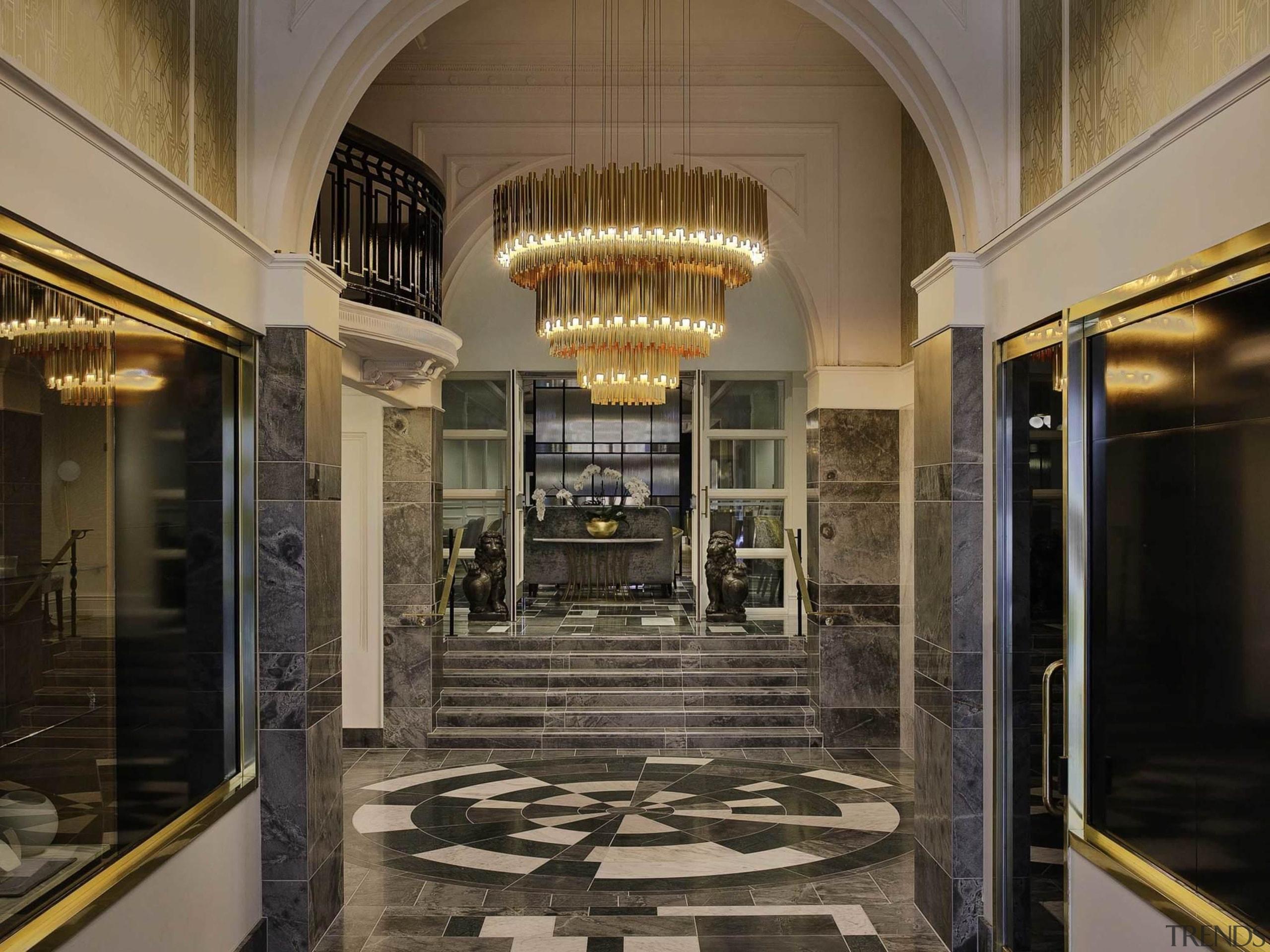Grand Windsor Hotel wins World's Best New Hotel ceiling, interior design, lobby, black, brown