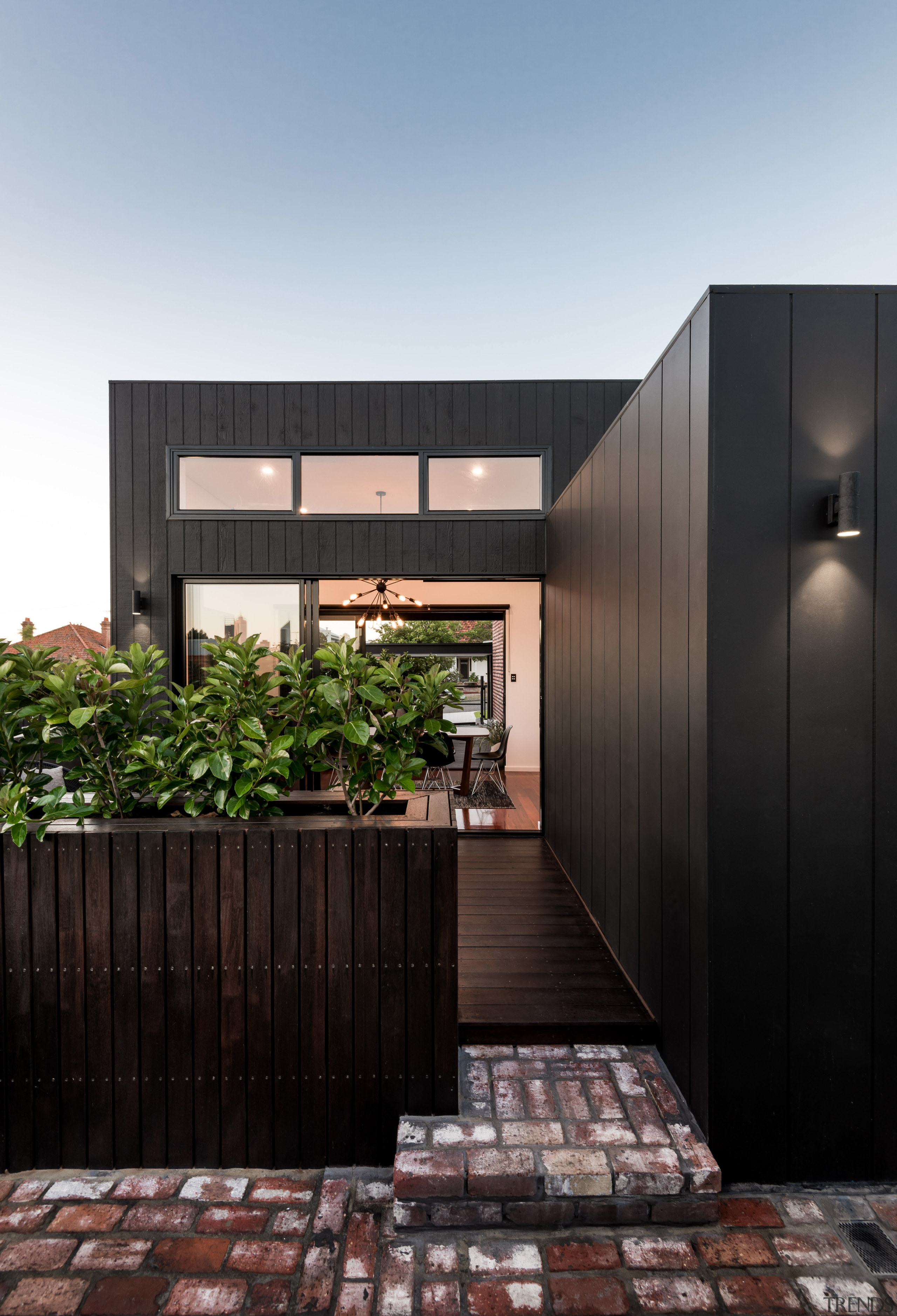 Line of sight  looking from the rear architecture, facade, home, house, real estate, black